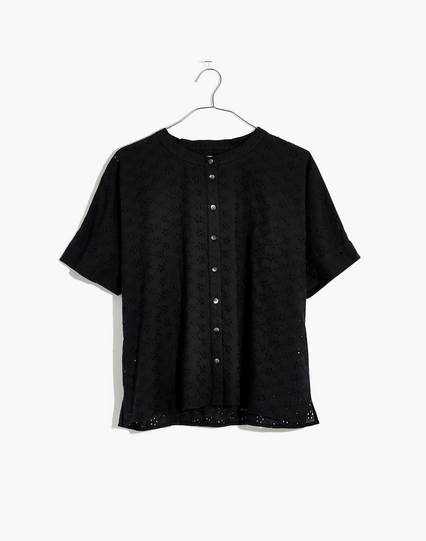 b7a81900 Madewell Eyelet Boxy Button-down Shirt in Black - Lyst