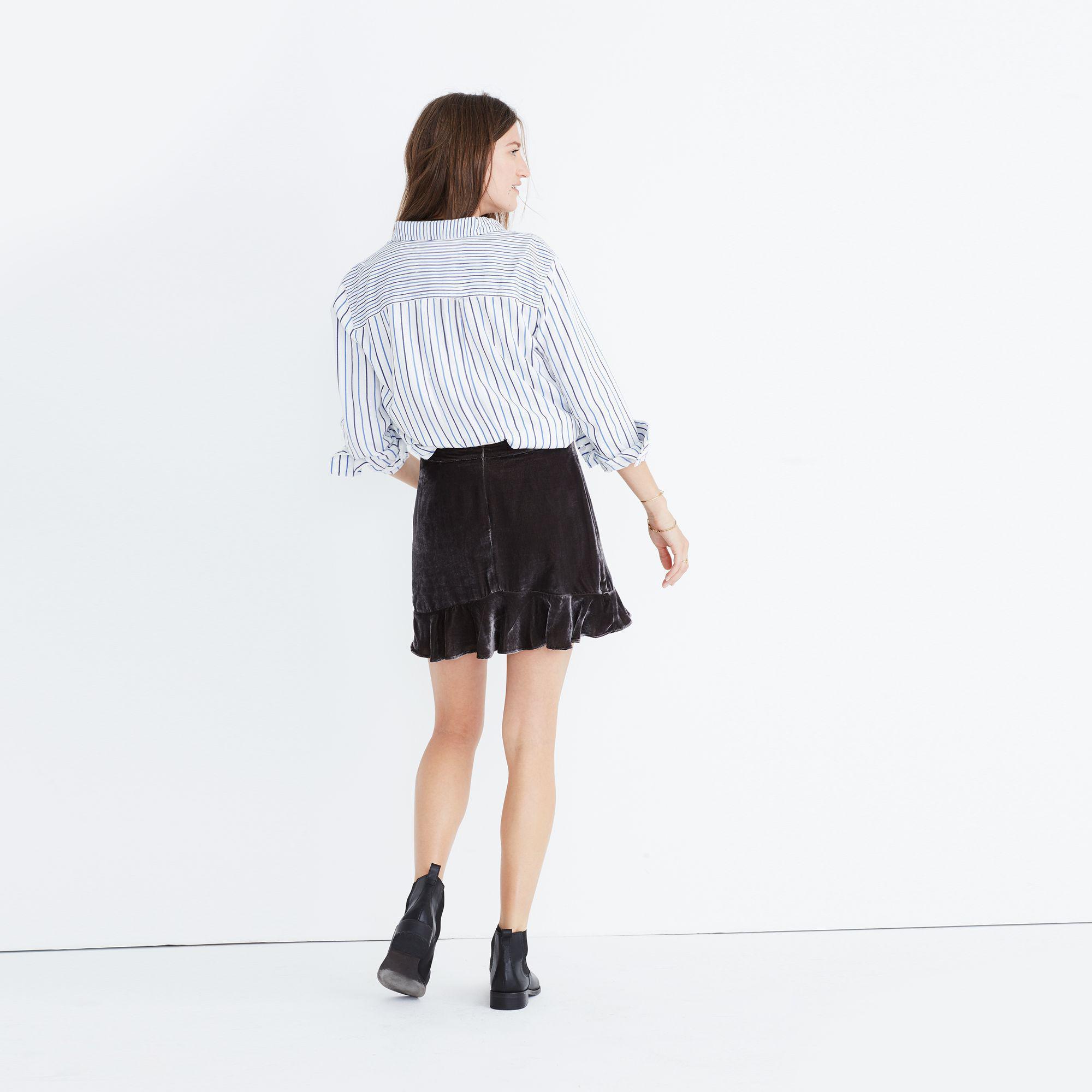cb93041fc Madewell Velvet Ruffle-edge Skirt - Lyst