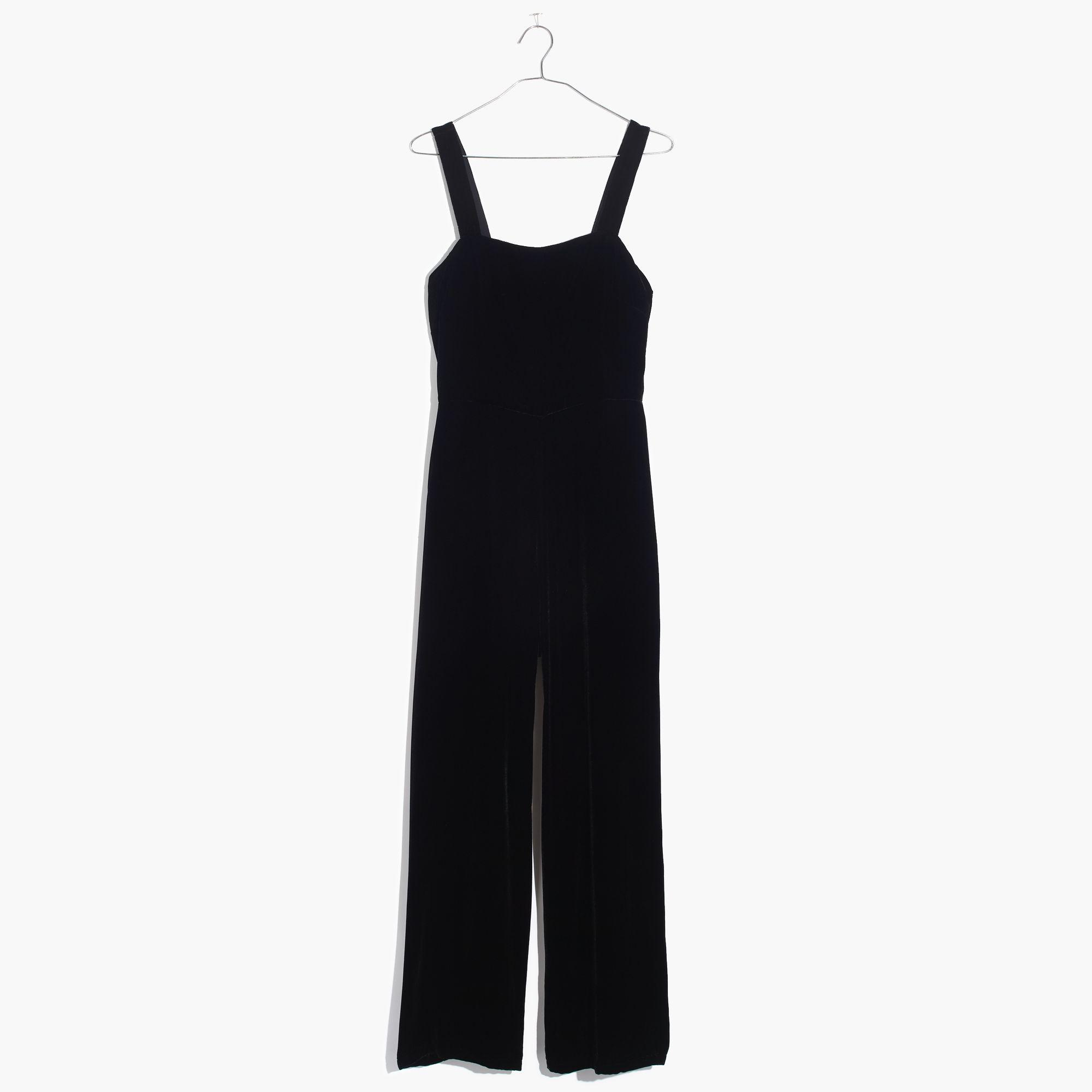 af8b32656b8 Lyst - Madewell Crushed Velvet Wide-leg Jumpsuit in Black