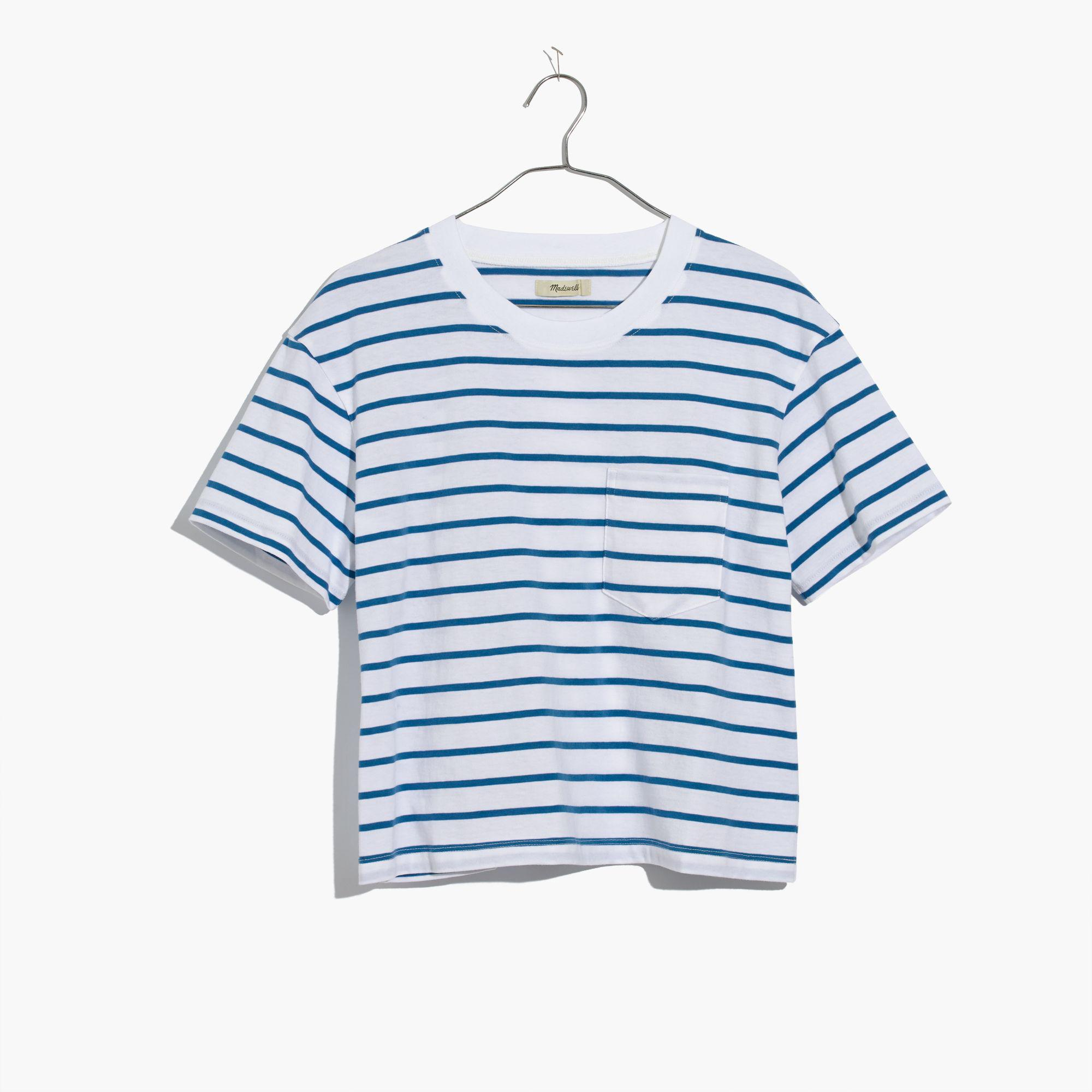 5ef5af130addbf Lyst - Madewell Easy Crop Tee In Wanda Stripe in Blue