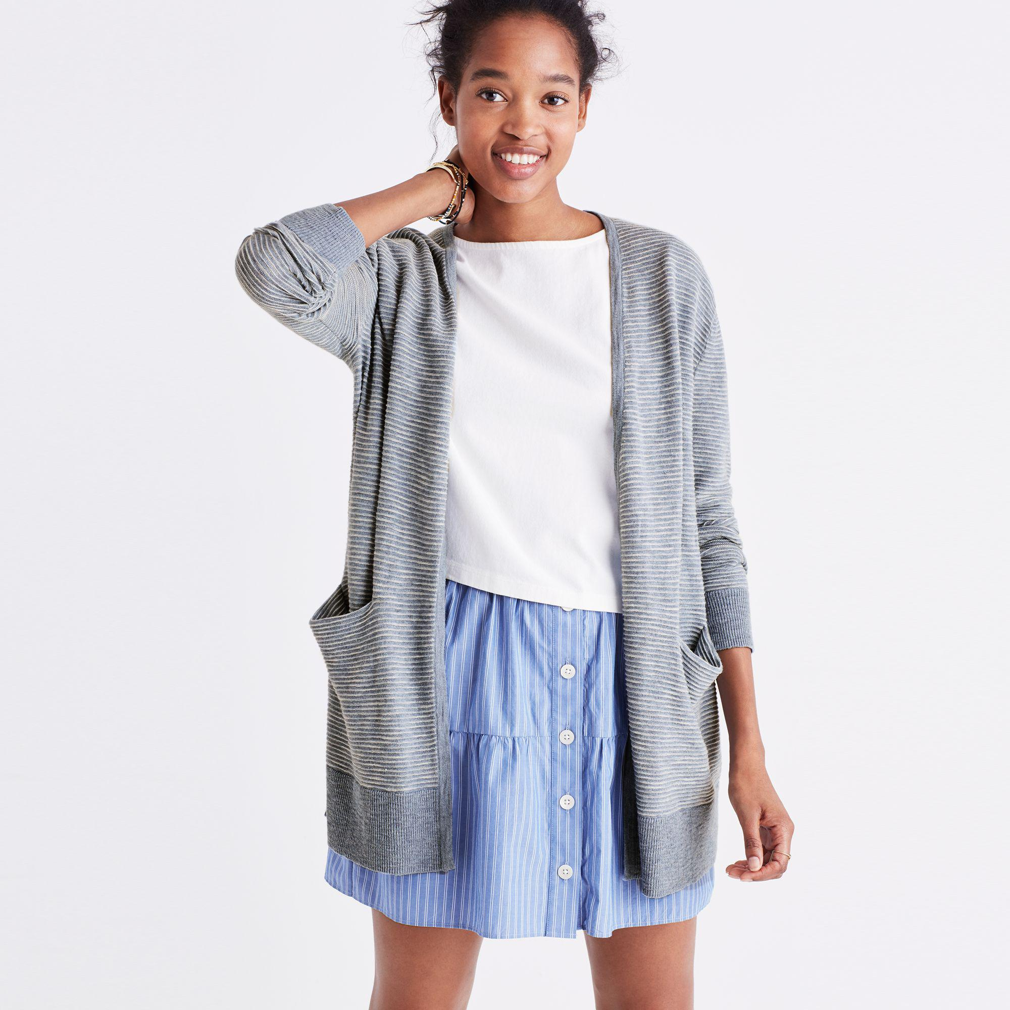 ec82ce1a76 Lyst - Madewell Summer Ryder Cardigan Sweater In Stripe in Blue