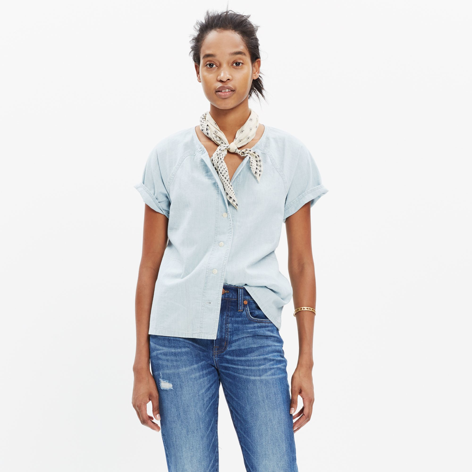 Lyst madewell chambray raglan shirt in blue for Blue chambray shirt women s
