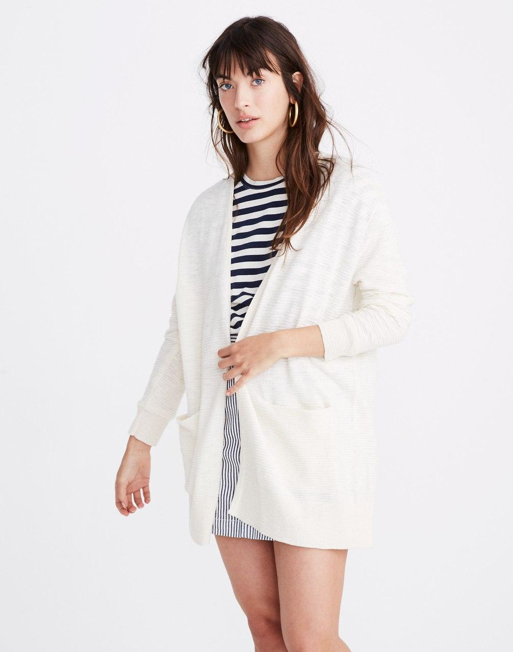 ef2adad77431 Lyst - Madewell Summer Ryder Cardigan Sweater In Stripe in White
