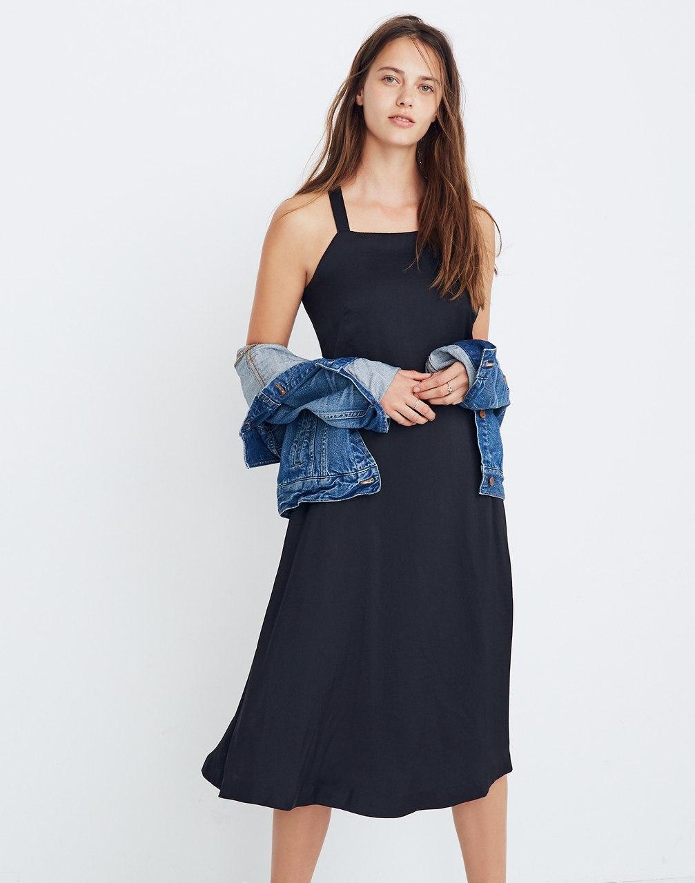 f84c716dd5 Lyst - Madewell Cross-back Midi Dress in Black