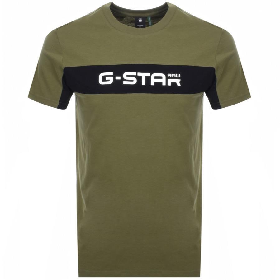 64e51e94c6 Lyst - G-Star RAW Crew Neck Logo T Shirt Green in Green for Men