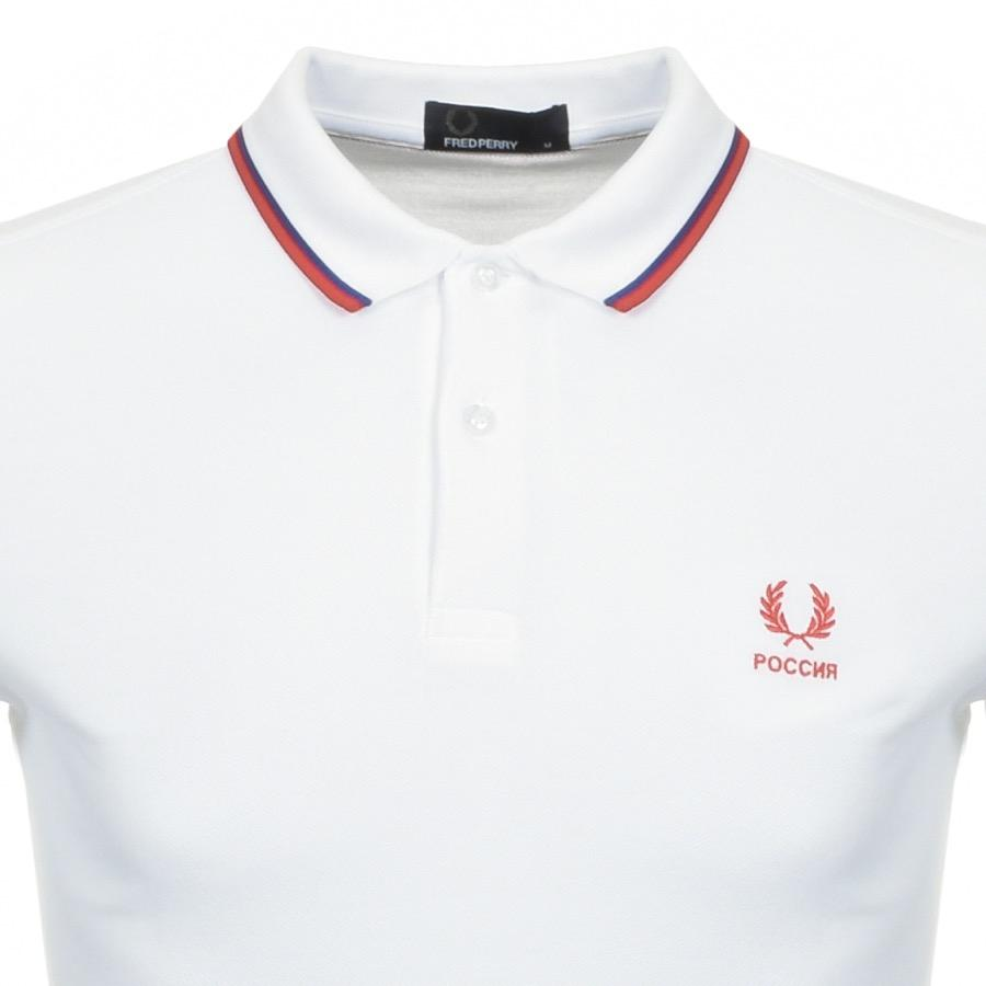 87e12fe8c Fred Perry Twin Tipped Russia Polo T Shirt White in White for Men - Lyst