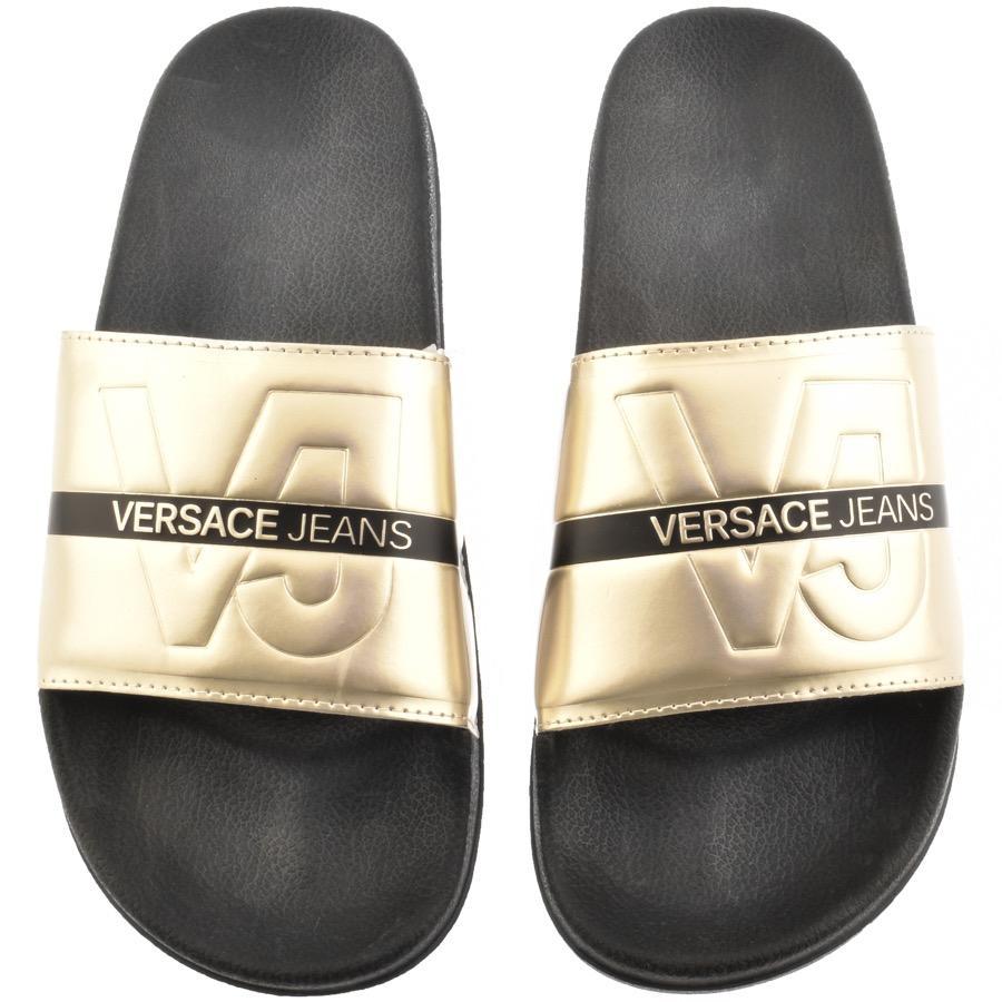 f25793b8e1e4 Versace Jeans - Metallic Logo Sliders Gold for Men - Lyst. View fullscreen