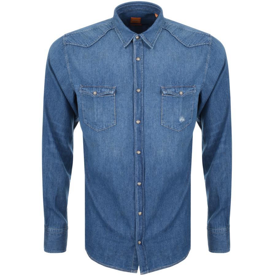 fd959b27b BOSS by Hugo Boss Boss Orange Erodeo Long Sleeve Shirt Blue in Blue ...