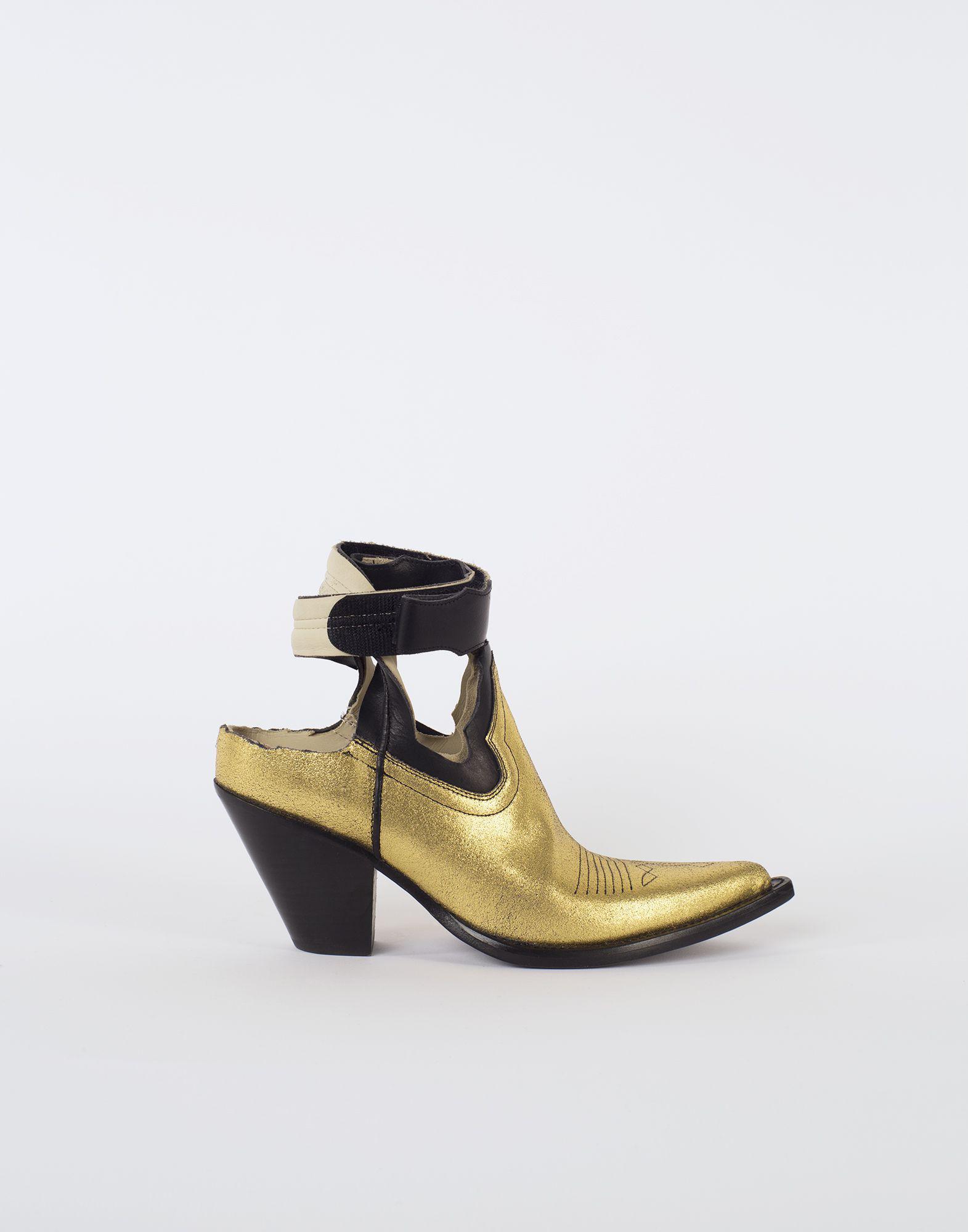 Maison Margiela. Women's Metallic Gold Cut-out Cowboy Boots