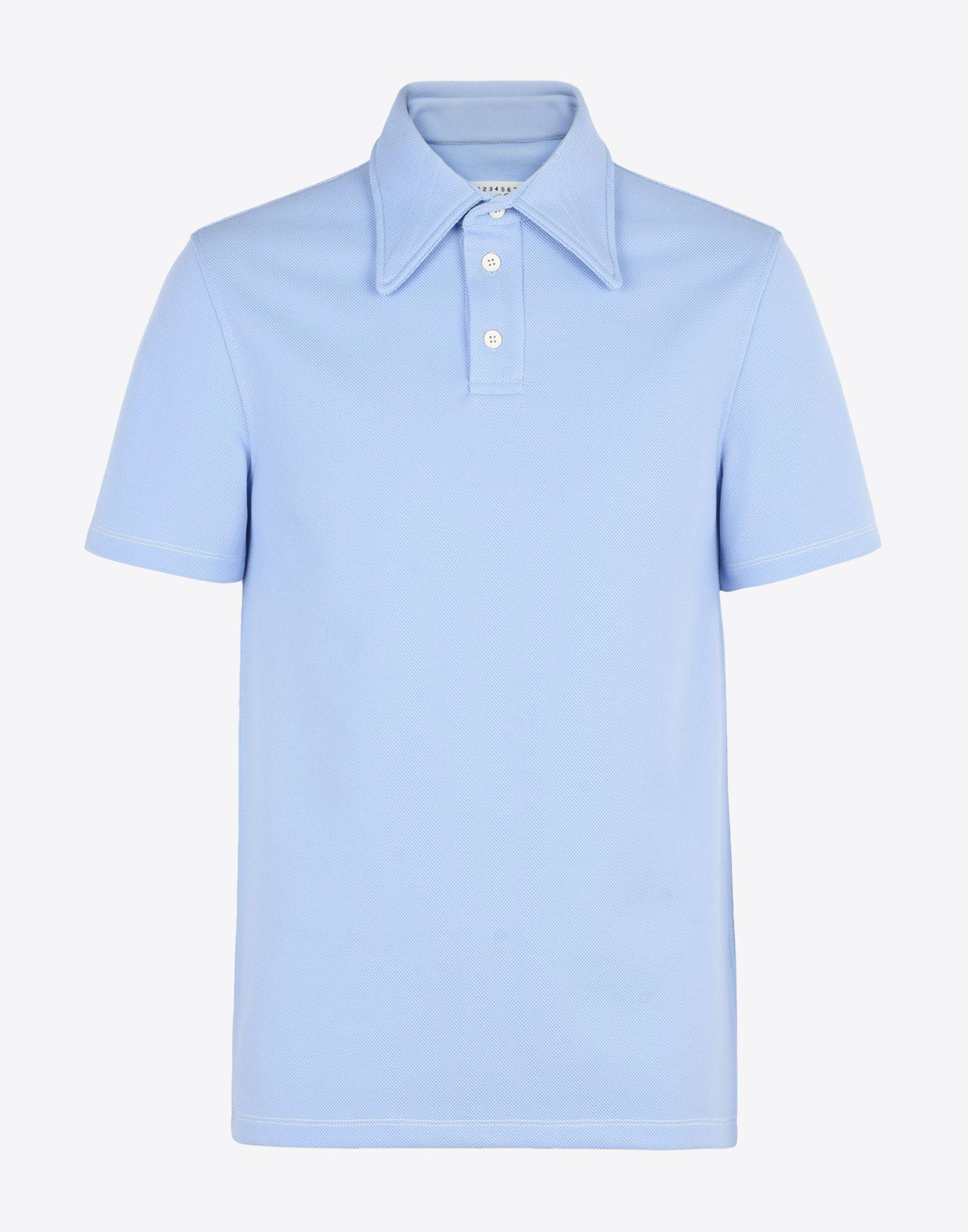 Contrast-collar wool and cotton-blend polo shirt Maison Martin Margiela Shop Cheap Online Discount Latest Collections For Sale Discount Sale pCh26