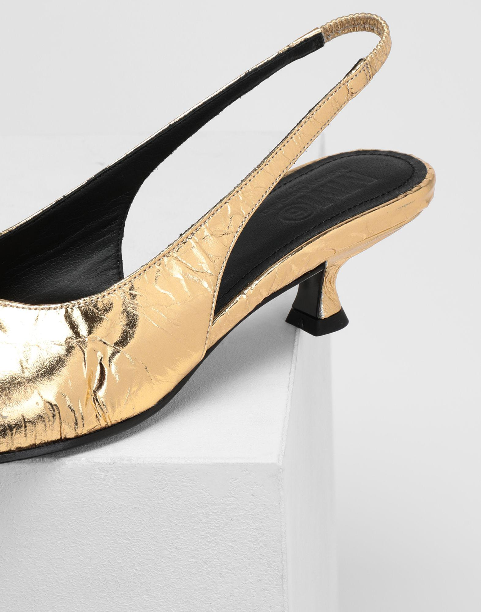 4fe86179882 Lyst - MM6 by Maison Martin Margiela Crinkled Leather Slingback Pumps in  Metallic