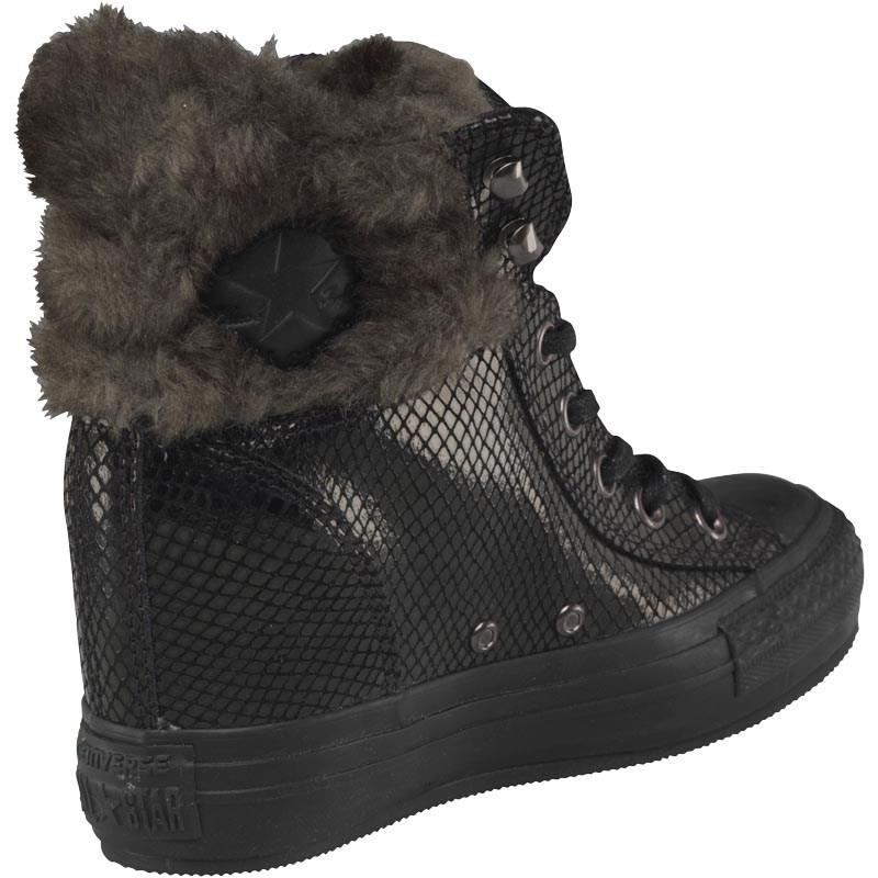 39badd2814 Converse Ct All Star Hi Platform Plus Faux Fur Collar Trainers Black ...