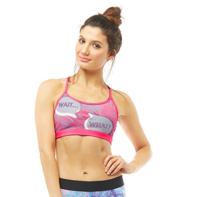 Reebok. Women's Yoga Pop Art Speedwick Sports Bra Top Poison Pink