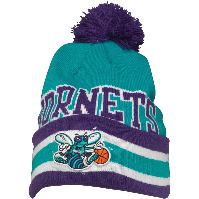 a04b4834910 ... new arrivals mitchell ness. mens charlotte hornets cuff knit bobble hat  cc2be b3701 ...