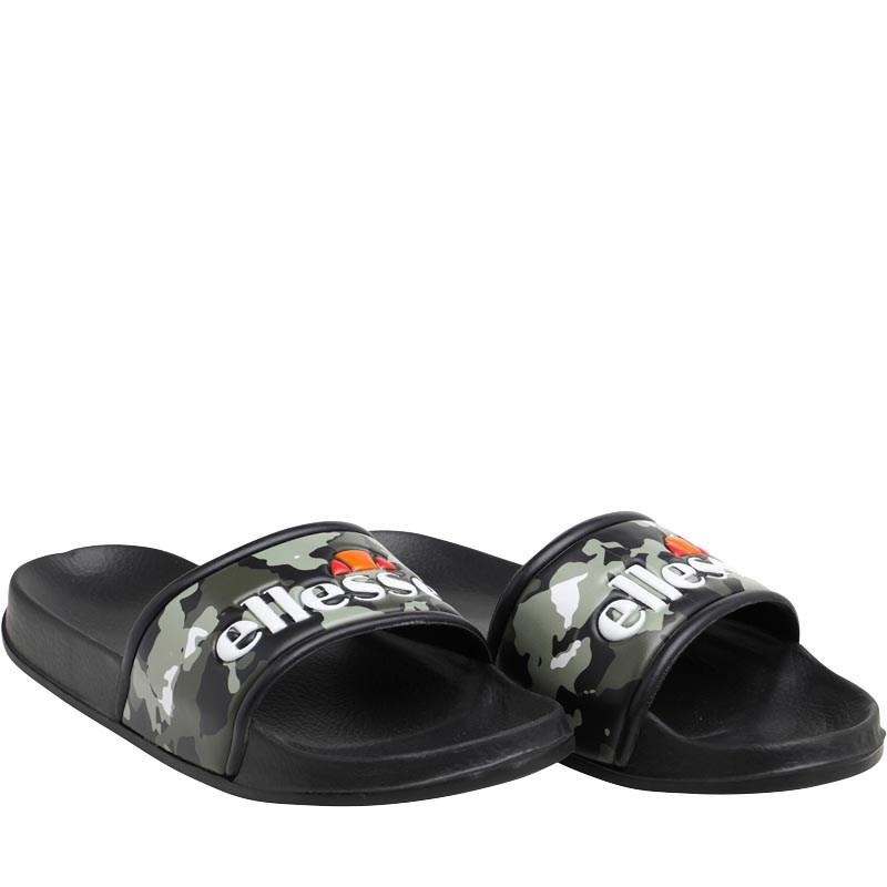 3a3334a68 Ellesse Logo Slide Flip Flops Black camo white in Black for Men - Lyst