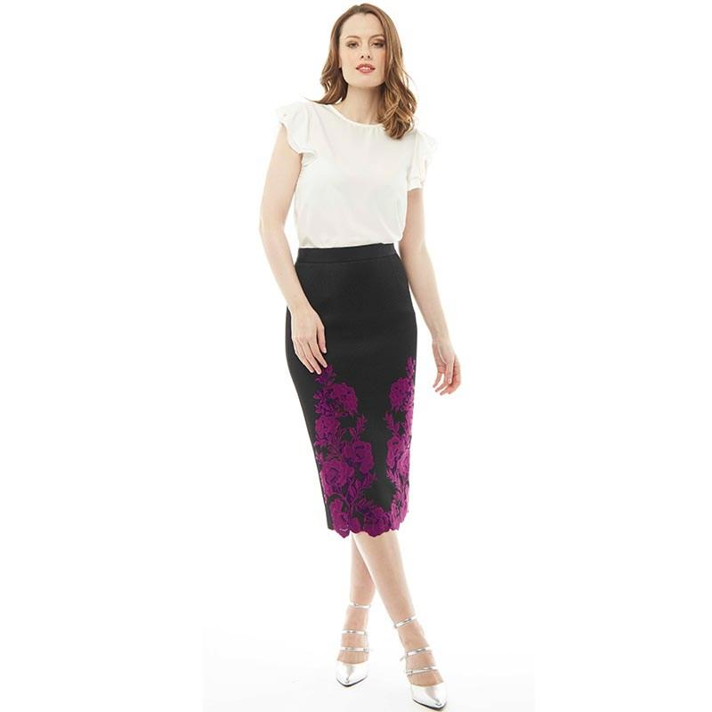 17d0ba6bd13428 Ted Baker Valari Embroidered Mesh Lace Pencil Skirt Dark Red in ...