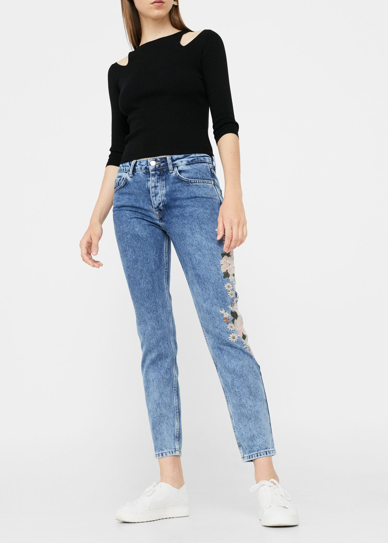 Mango Embroidered Relaxed Spring Jeans in Blue
