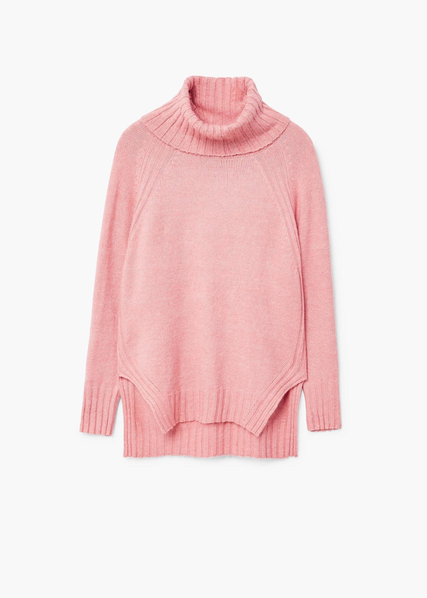 Mango Turtleneck Sweater in Pink | Lyst