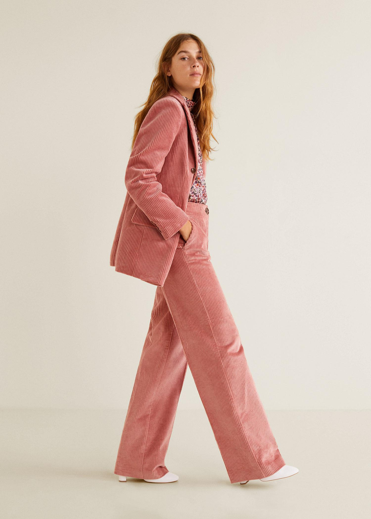 fca292eef0a87 Mango Corduroy Straight Trousers in Pink - Lyst