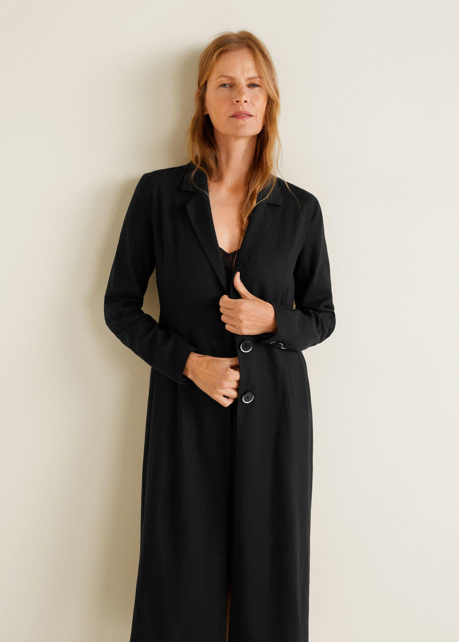 b2a812bf80 Lyst - Mango Pleat Detail Linen-blend Trench in Black