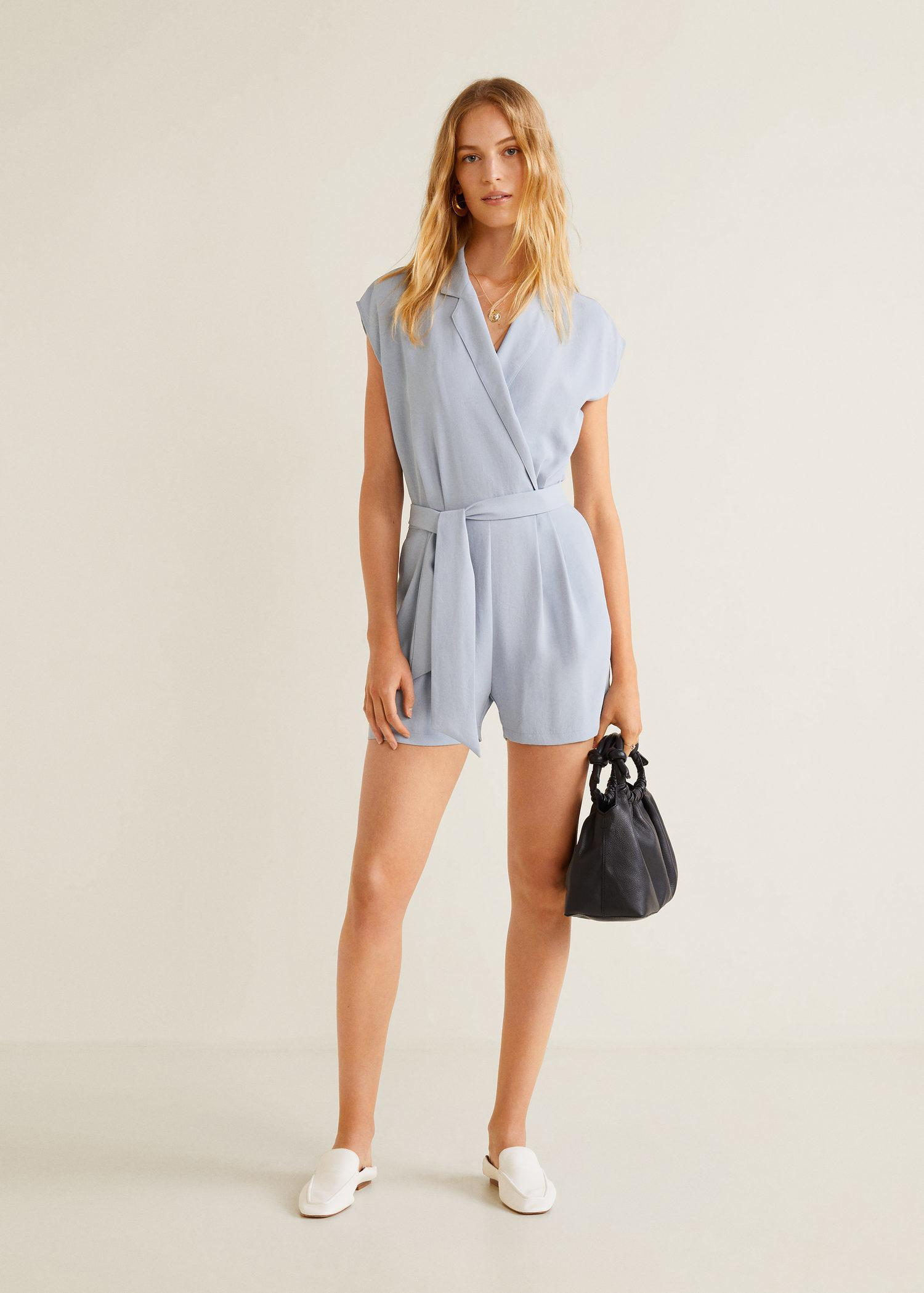 7387b132aab Mango Wrap Short Jumpsuit in Blue - Lyst