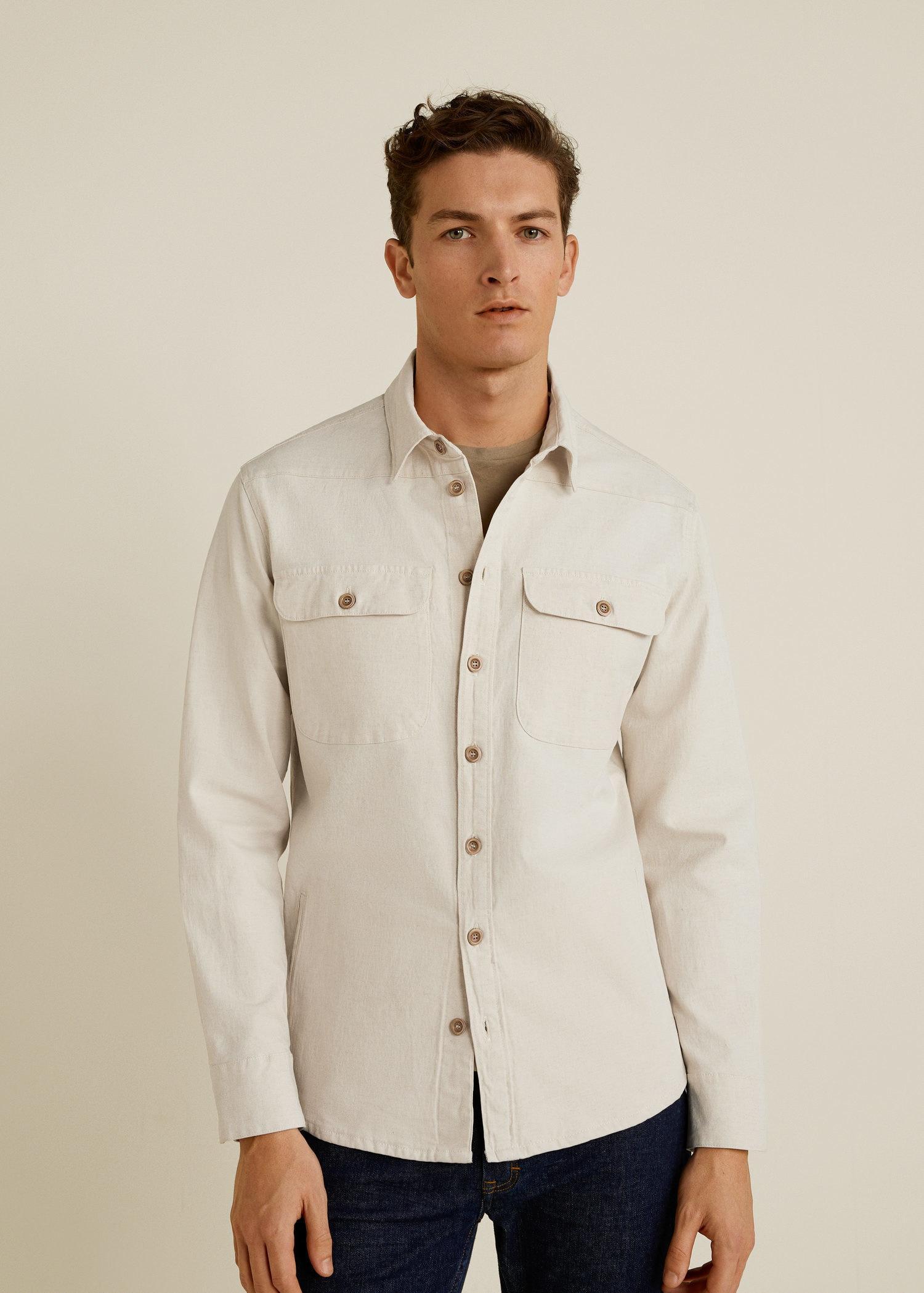 aae1ac8029c Lyst - Mango Linen-cotton Blend Overshirt in Natural for Men