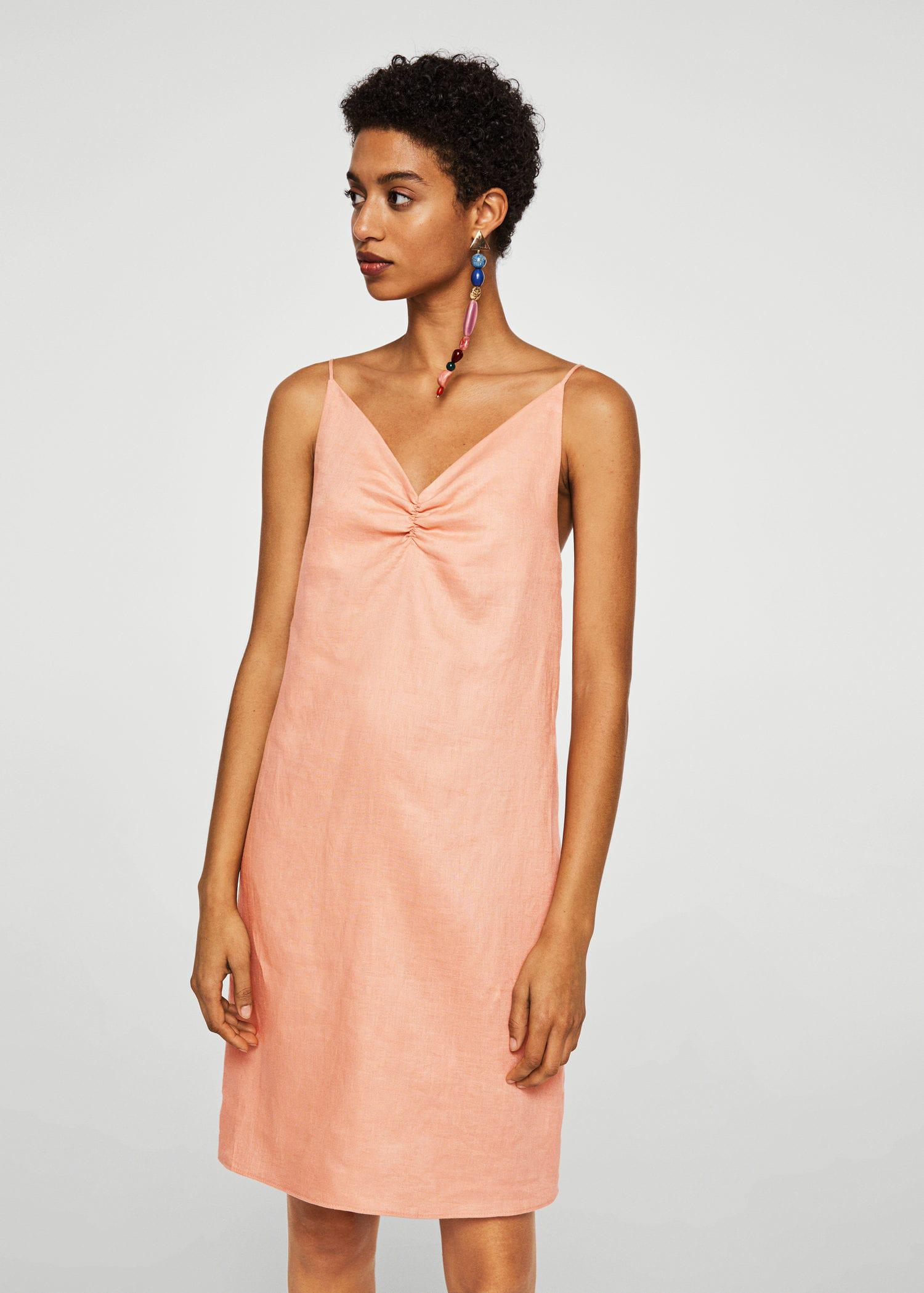 9576bdc597 Mango Linen Strap Dress in Pink - Lyst