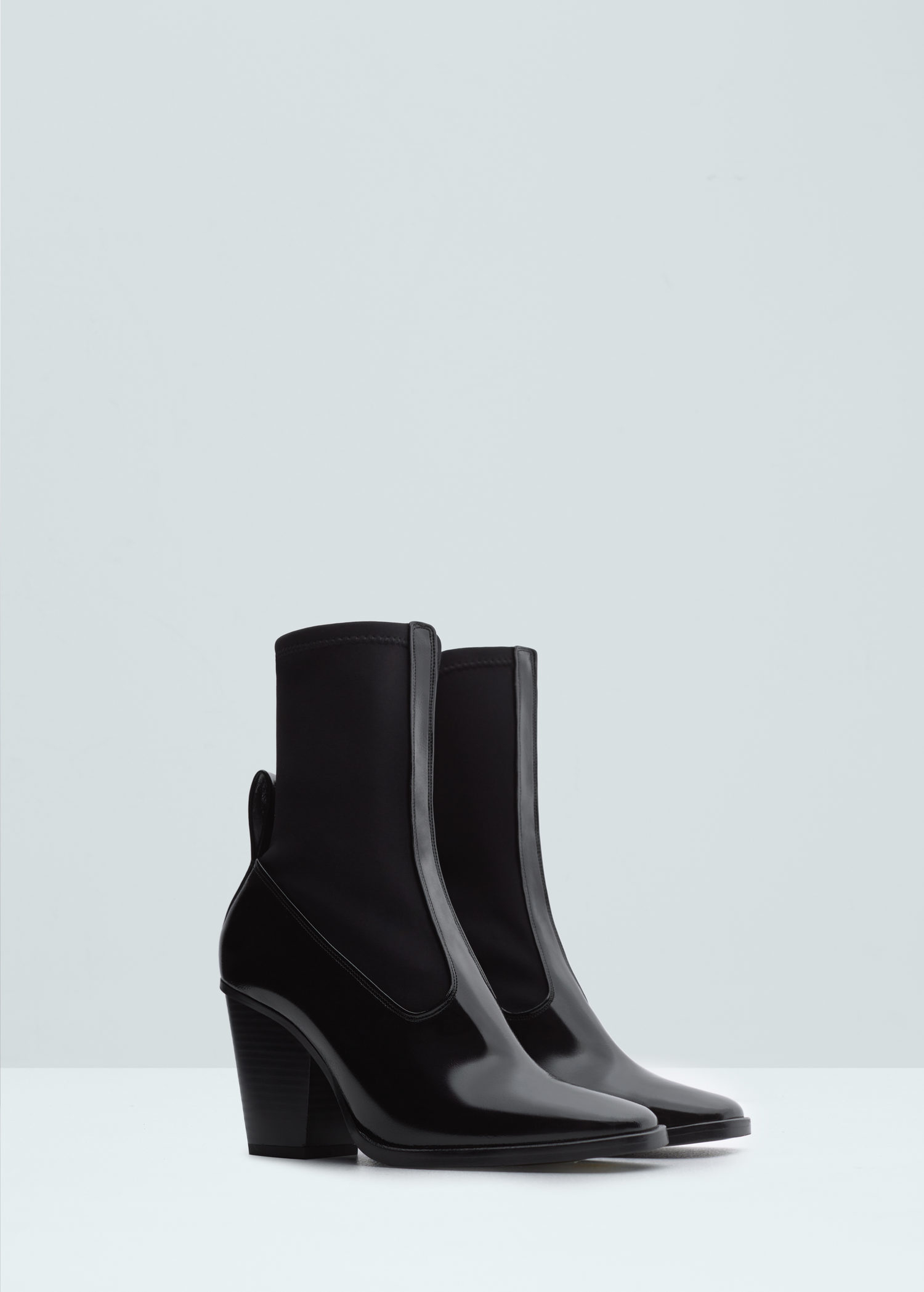 mango contrast materials ankle boots in black lyst