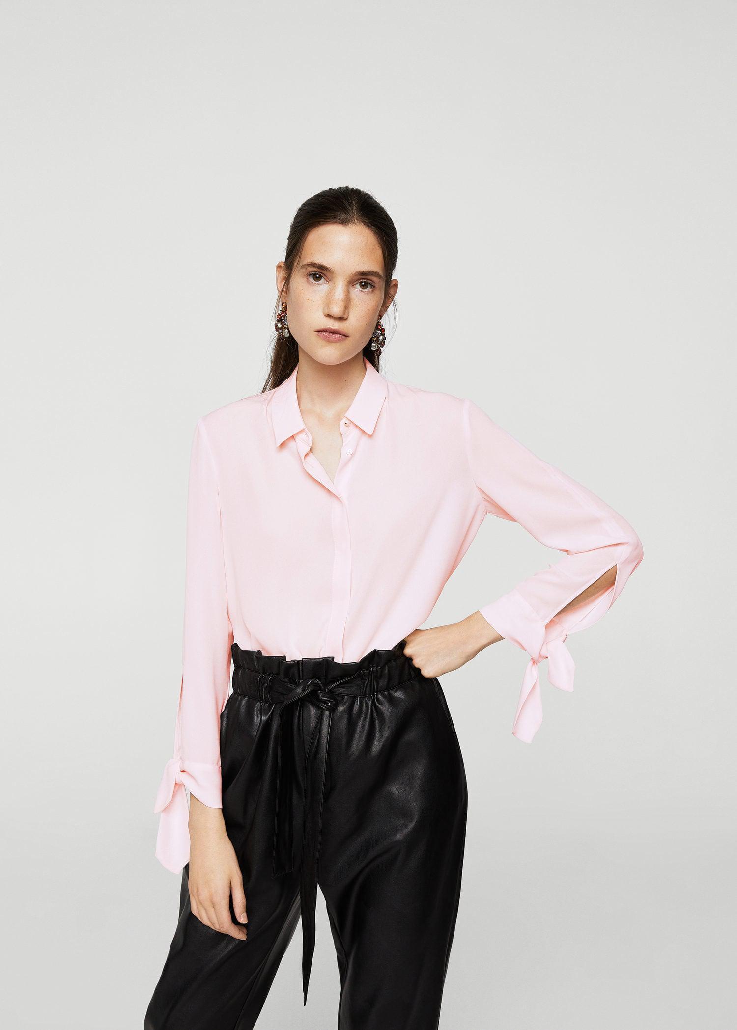 e63fb399bccb4a Mango Buttoned Flowy Shirt in Pink - Lyst