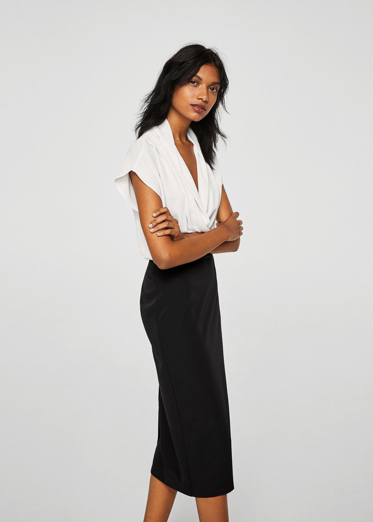 8f05990c50be Mango Monochrome Shift Dress in Black - Lyst