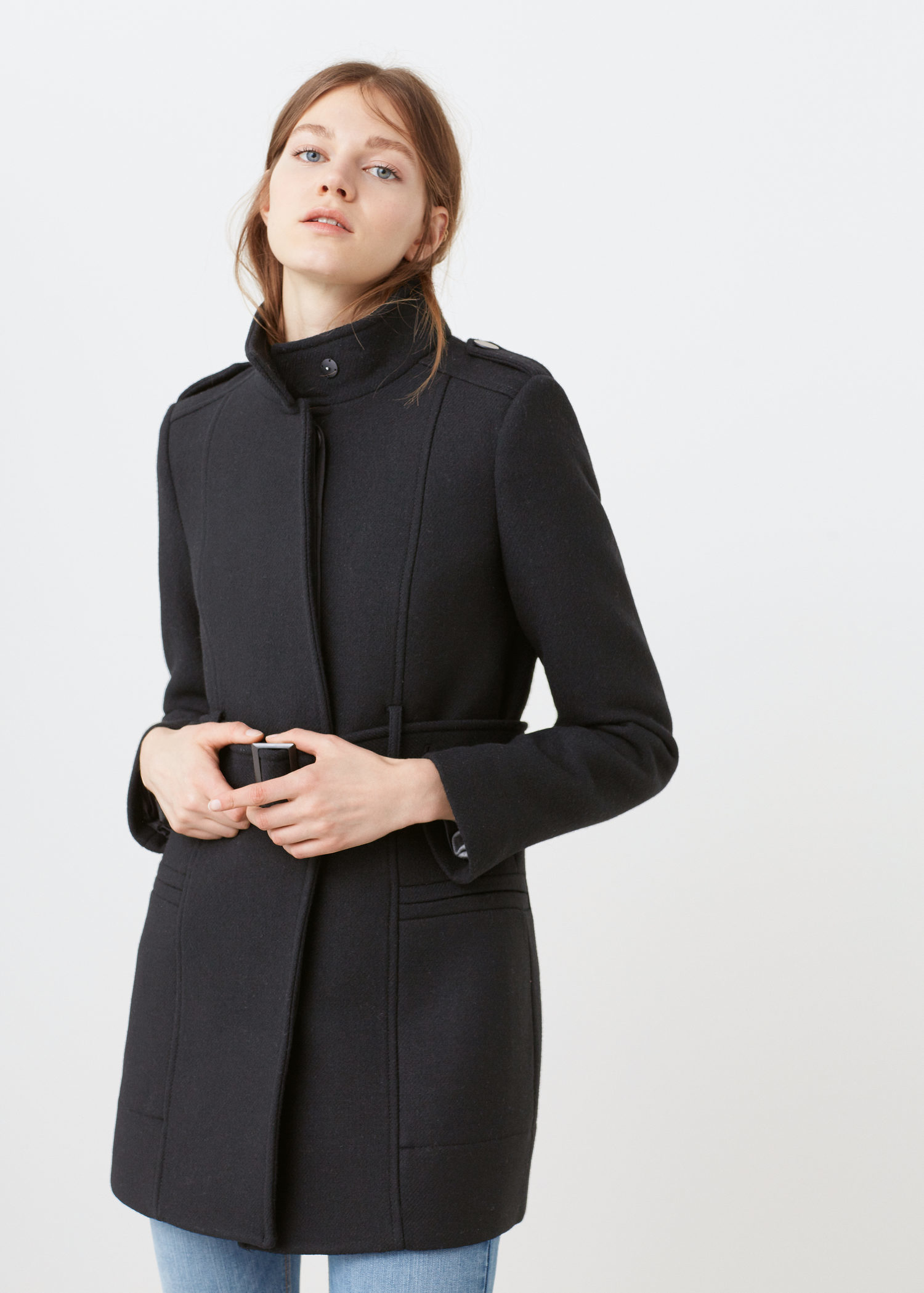 Mango Belt Wool Coat in Black | Lyst