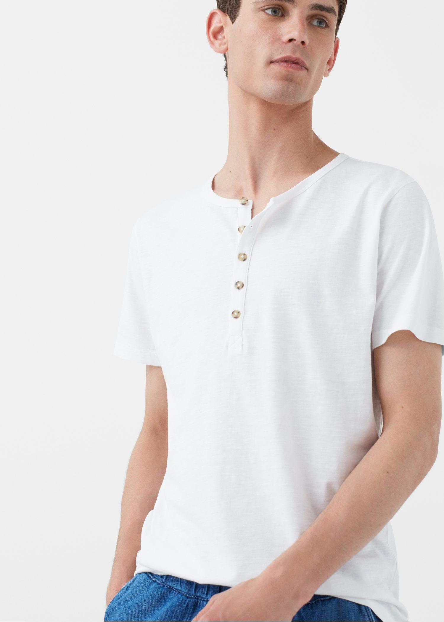 Mango henley cotton t shirt in white for men lyst for Women s cotton henley shirts