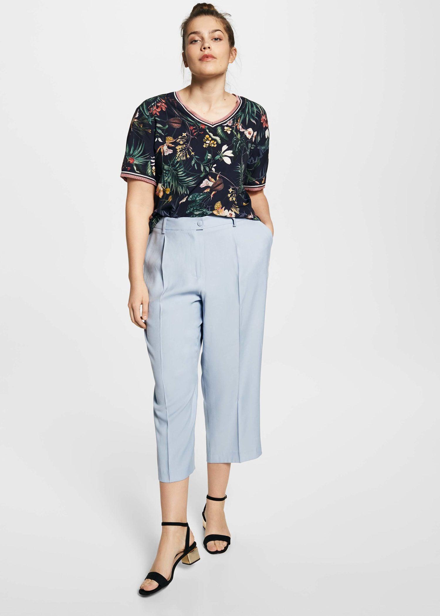 Violeta by Mango. Women's Blue Combined Printed T-shirt