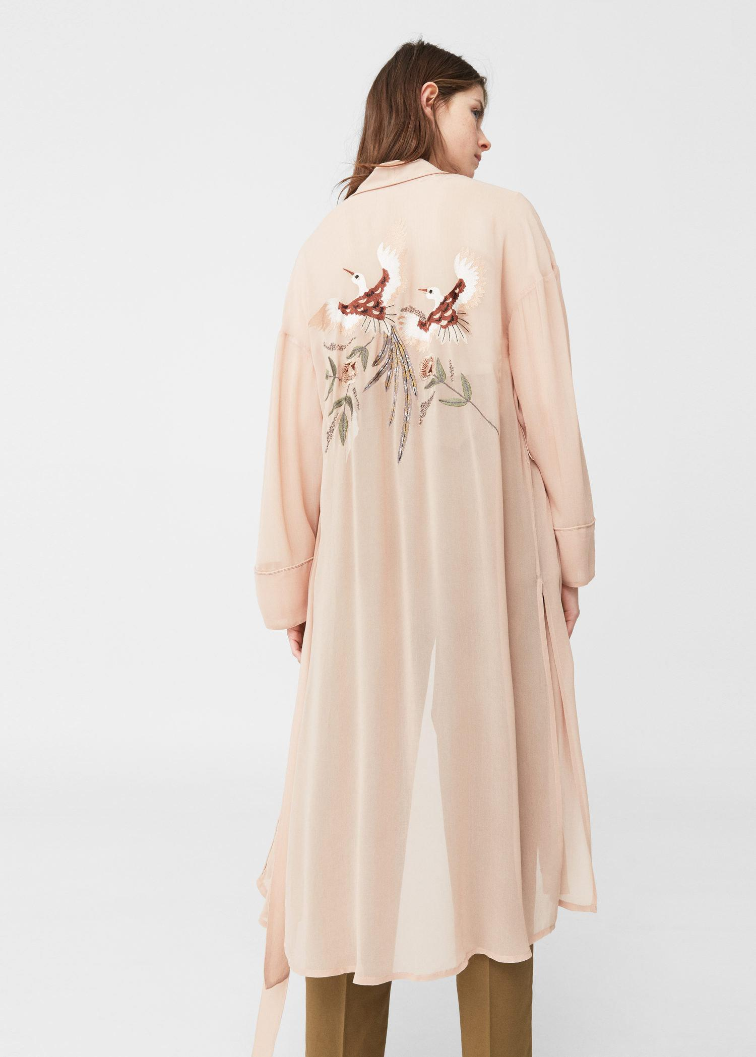 Lyst mango embroidered robe in pink for Robe jean mango