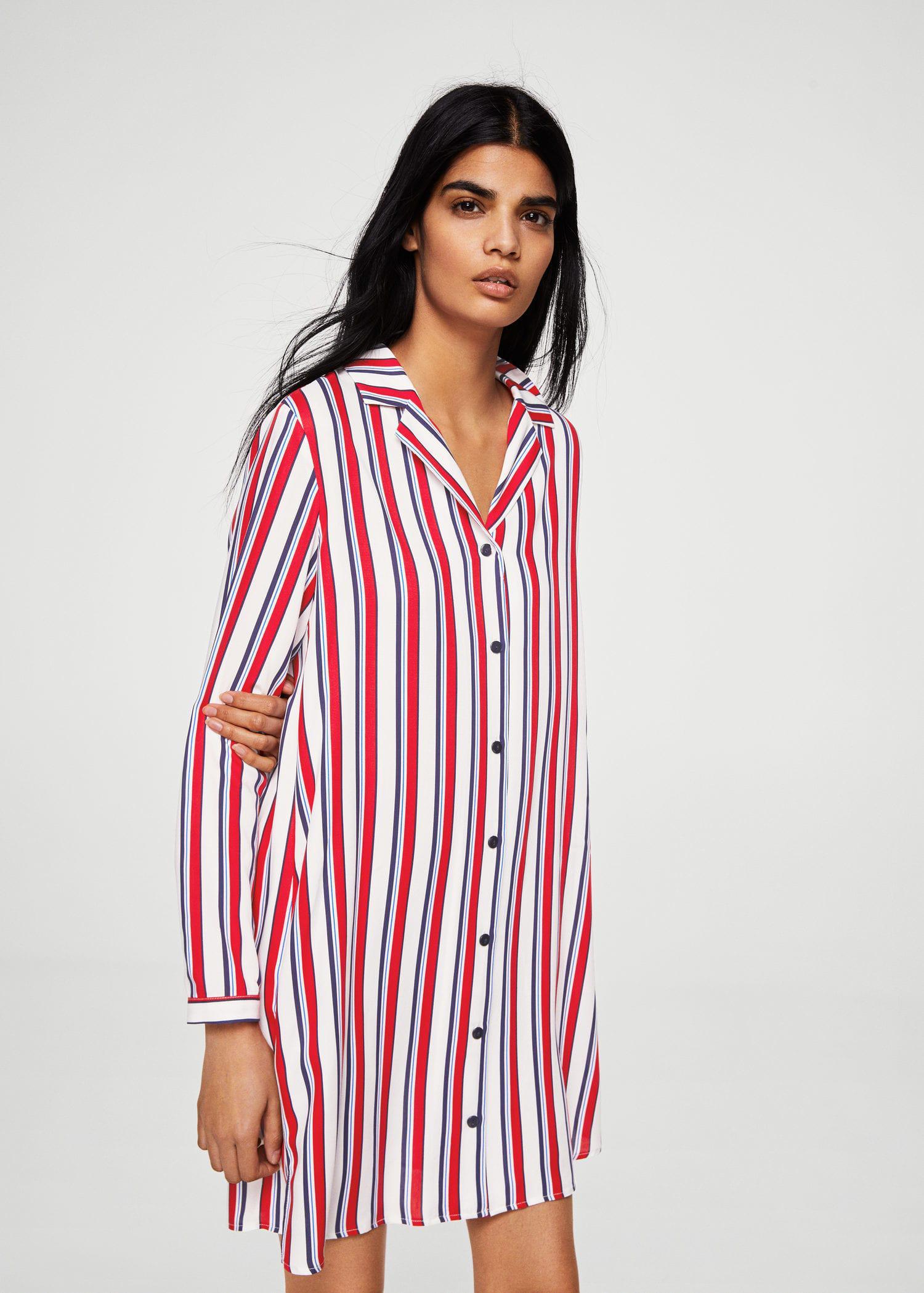 e519bf6cc03b Lyst - Mango Printed Shirt Dress in Red