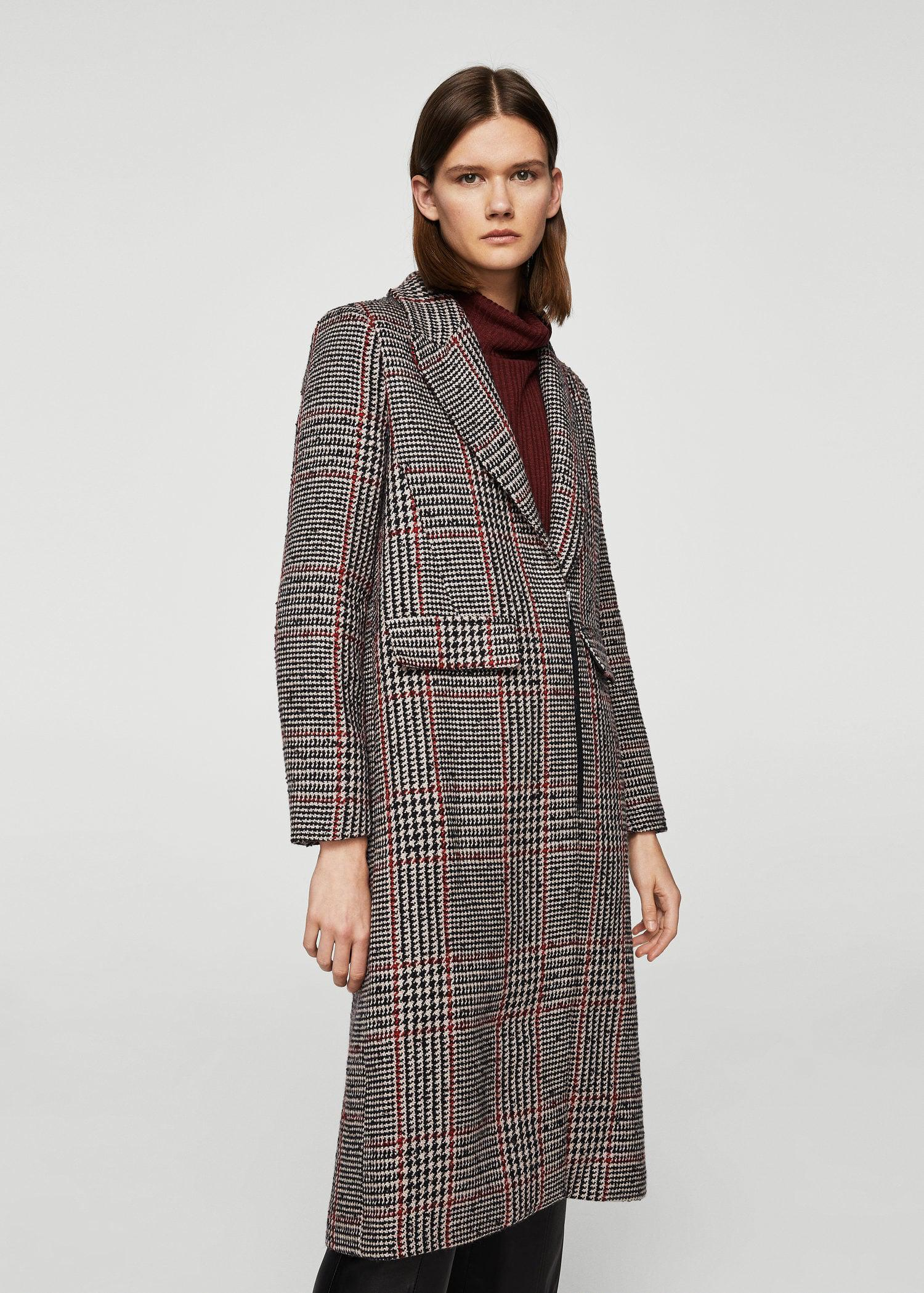 select for official hot-selling real classic style of 2019 Mango Black Checkered Wool-blend Coat