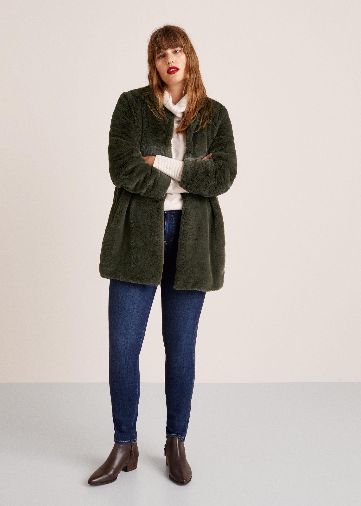 Violeta by Mango Faux Fur Coat in Green - Lyst 9eb775894f2