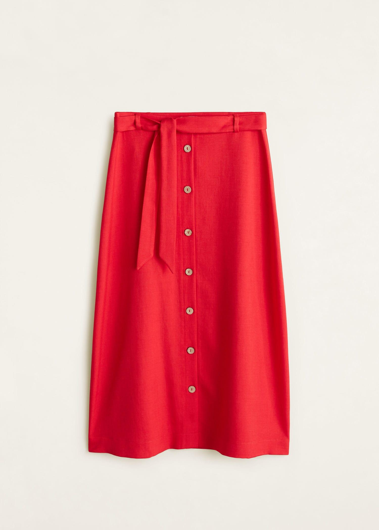 84fe18678e Lyst - Mango Buttoned Midi Skirt in Red