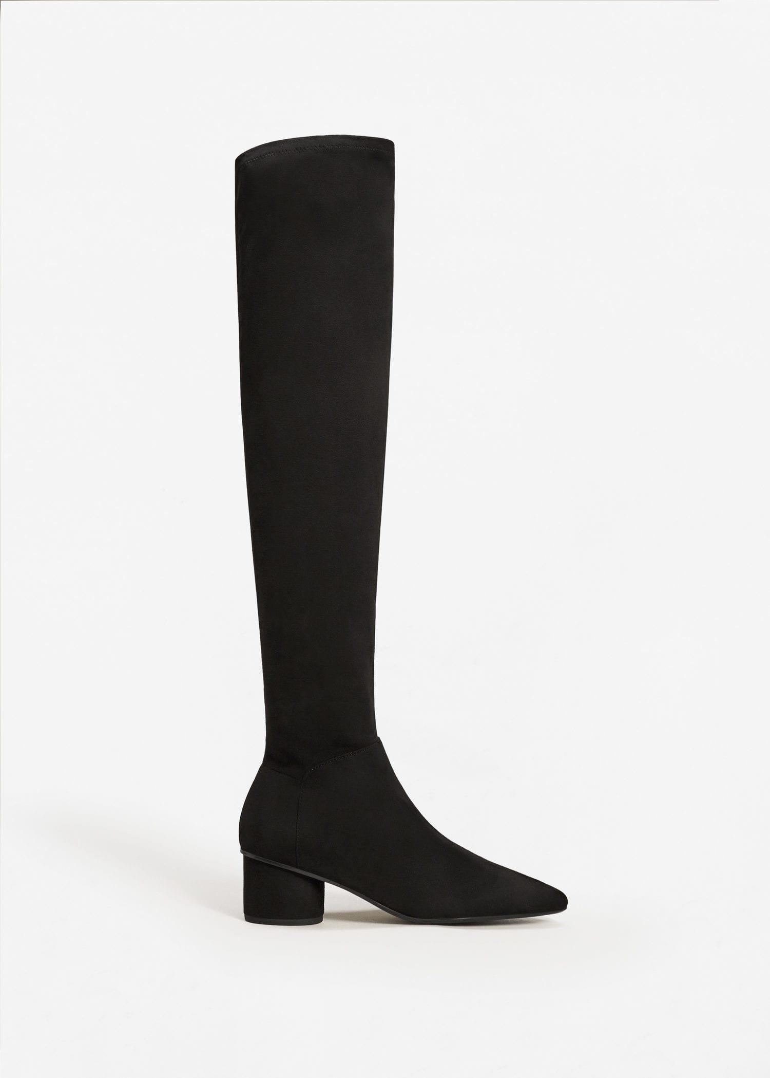 38df344c09f Lyst - Mango Over The Knee Heel Boots in Black