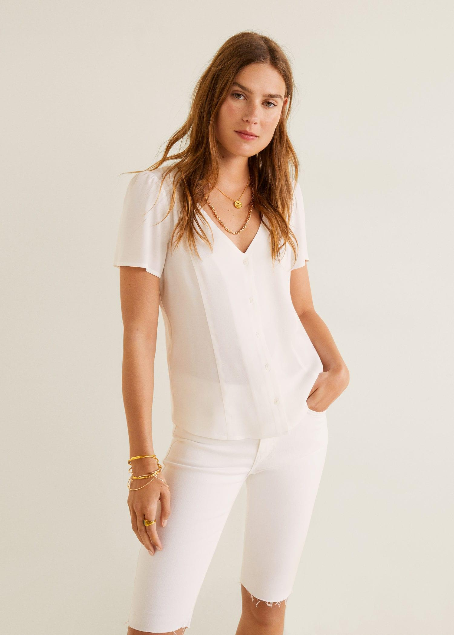 97103e24870ae1 Mango Buttoned Flowy Blouse in White - Lyst