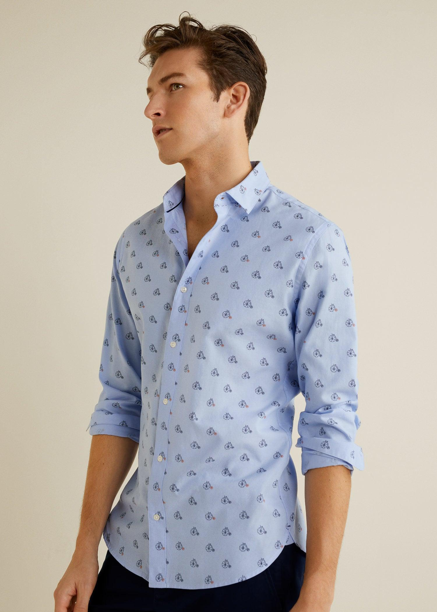 341353557a47 Lyst - Mango Slim-fit Printed Cotton Shirt in Blue for Men