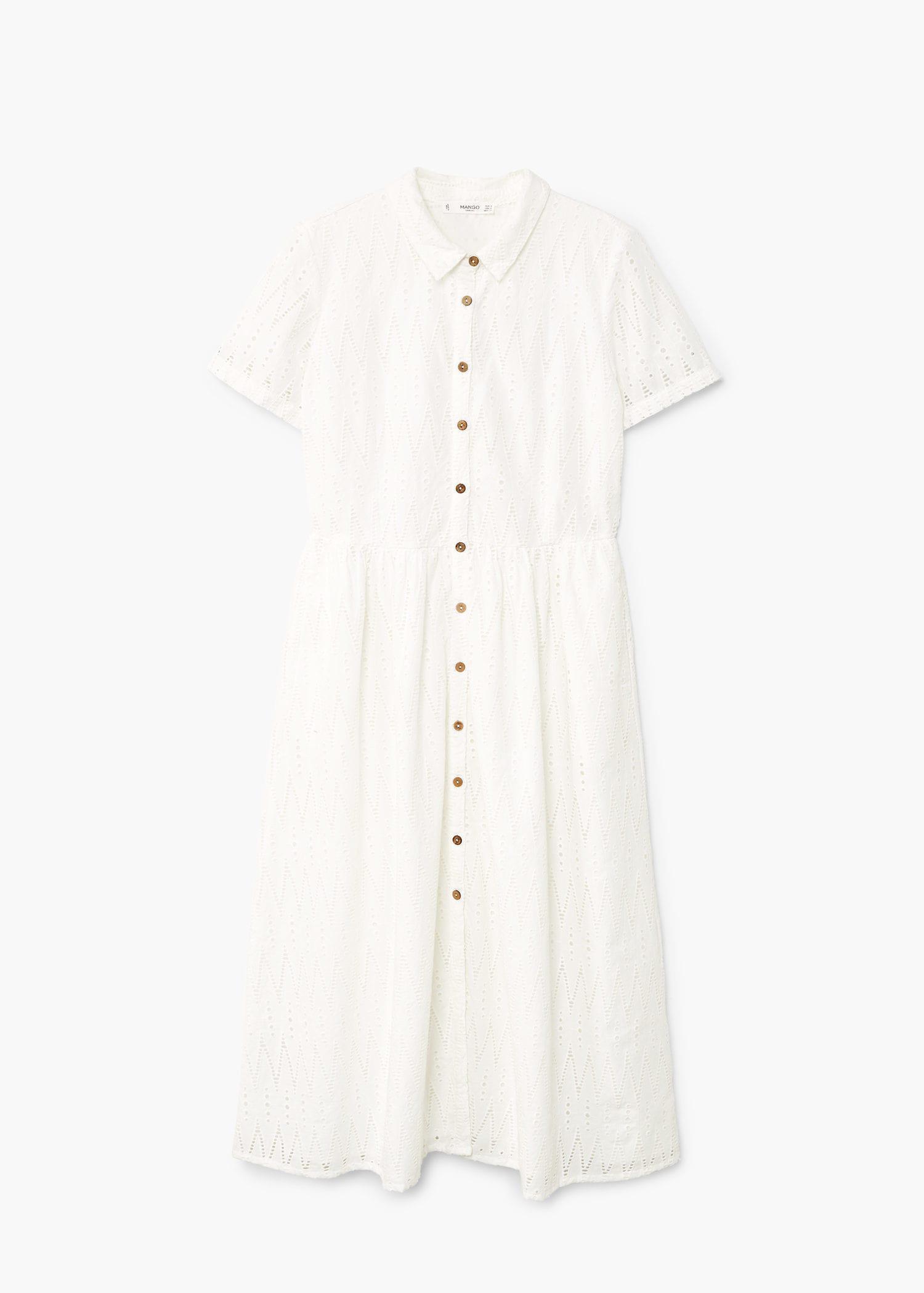 3ab264585387 Lyst - Mango Openwork Cotton Dress in White