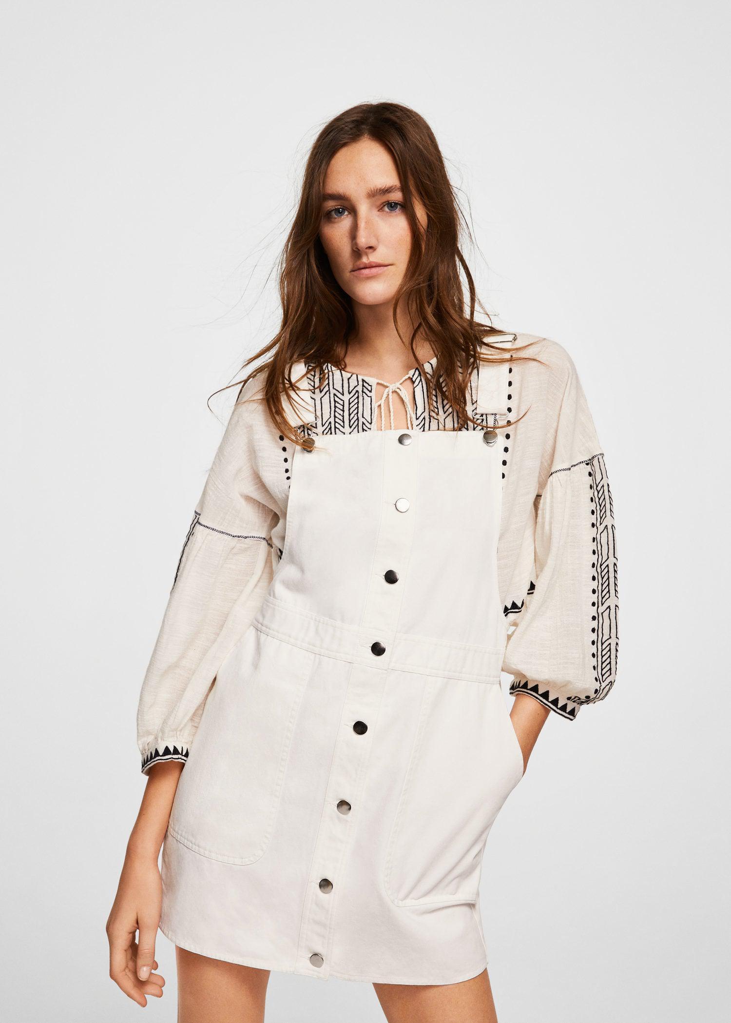 a09de0e6398 Mango Short Cotton Pinafore Dress in White - Lyst