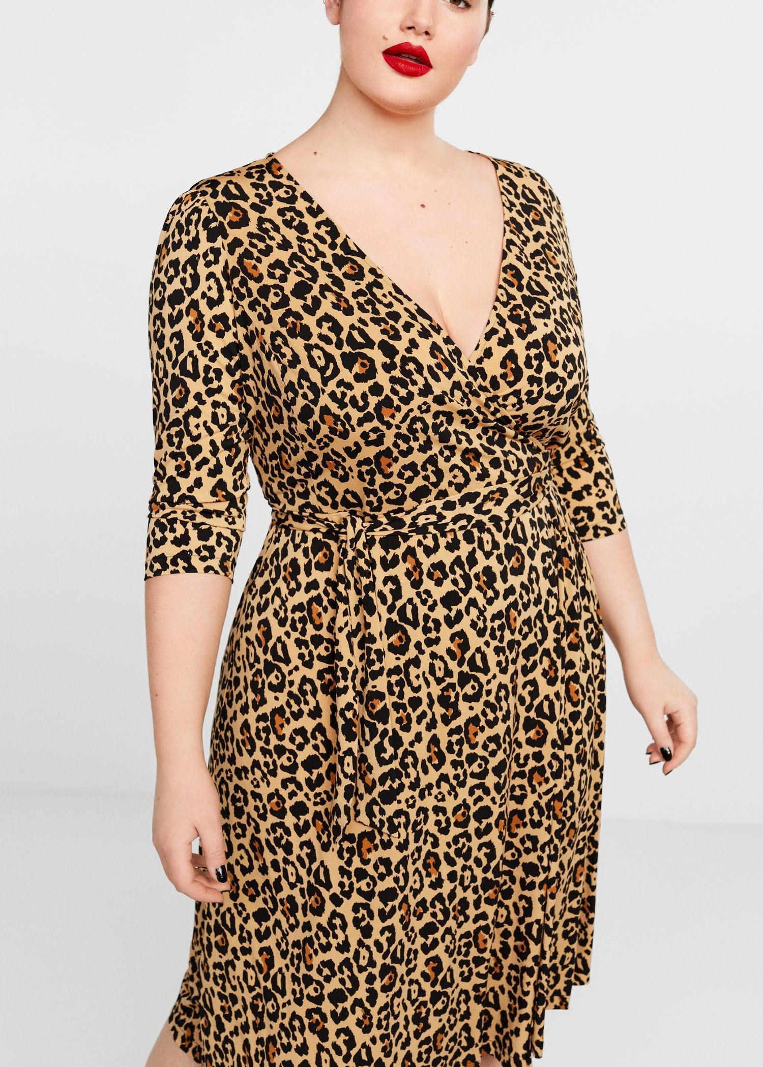 cef958f9d80e01 Violeta by Mango Leopard Print Wrap Dress in Brown - Lyst