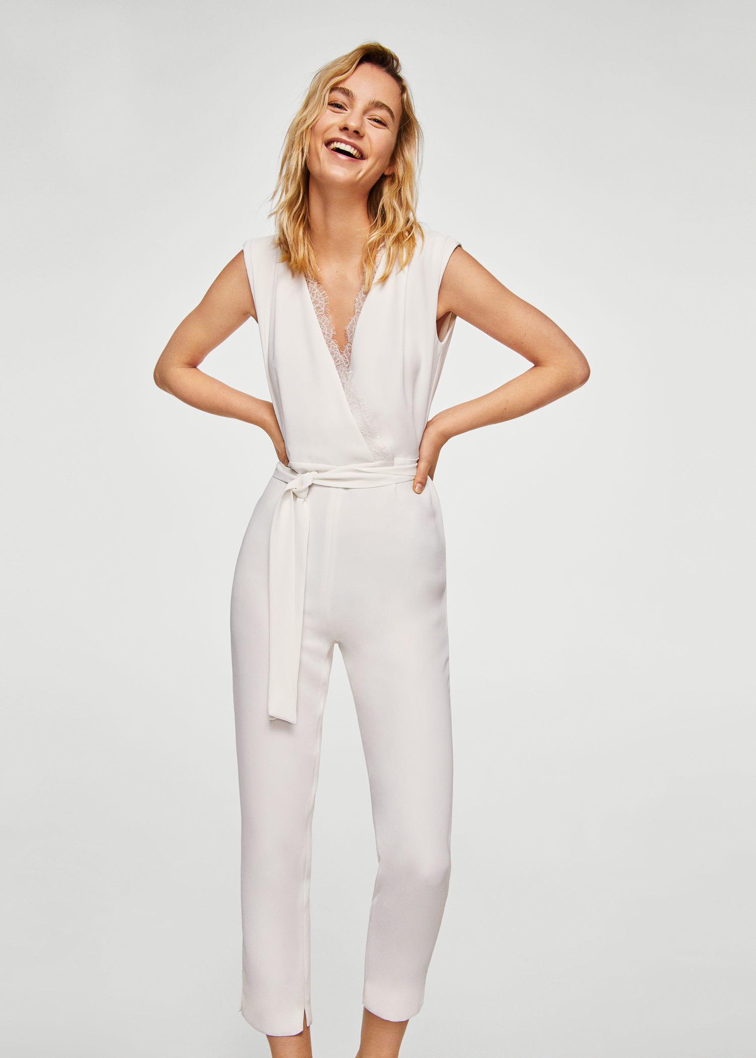 e2167af21f49 Lyst - Mango Lace Appliqué Jumpsuit in White