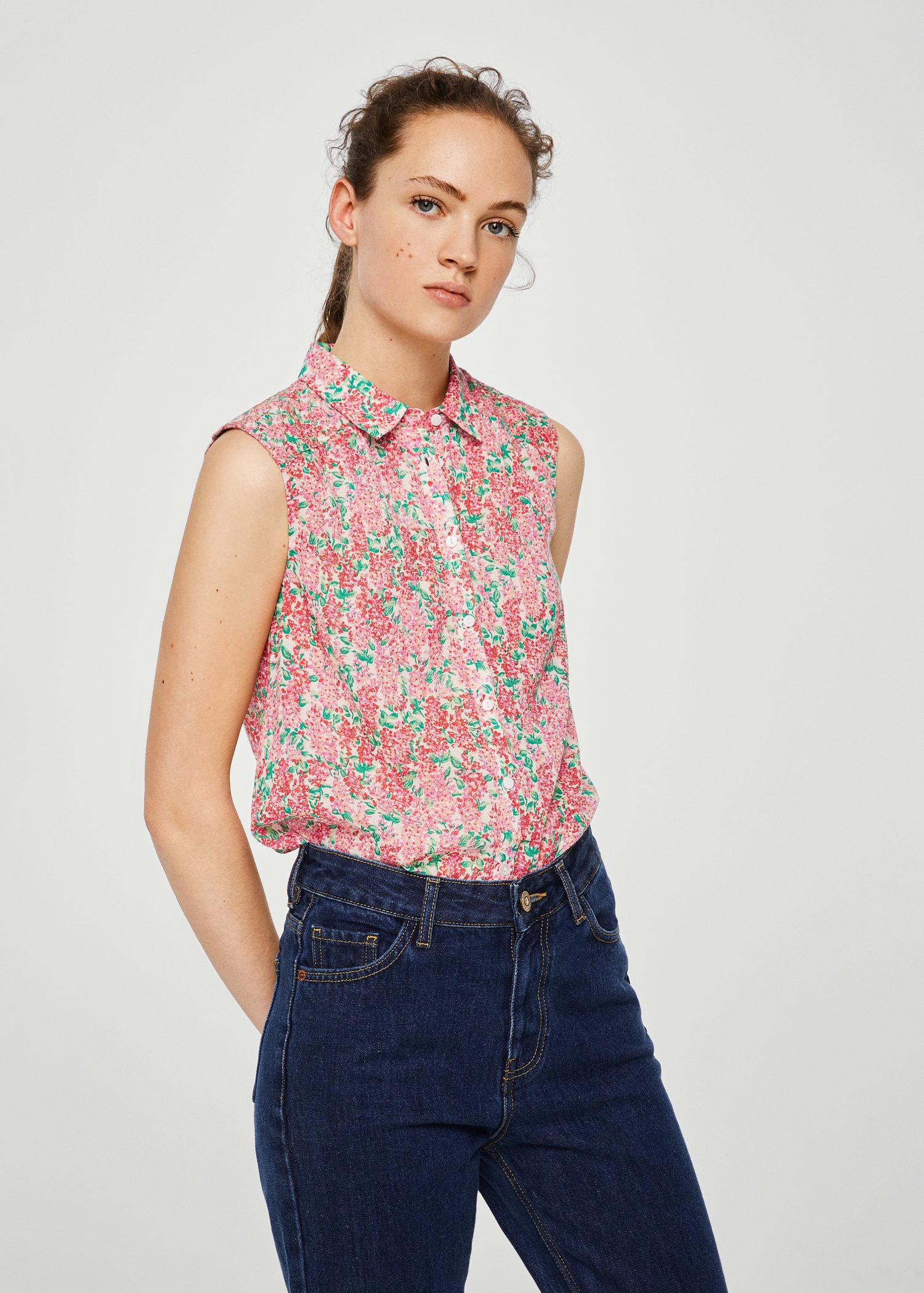 Lyst - Mango Floral Print Blouse in Pink eb631fc1a