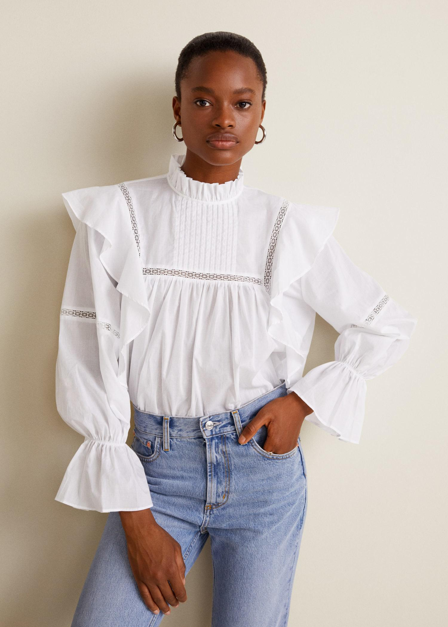 Lyst - Mango Ruffled Cotton Blouse in White 002321951