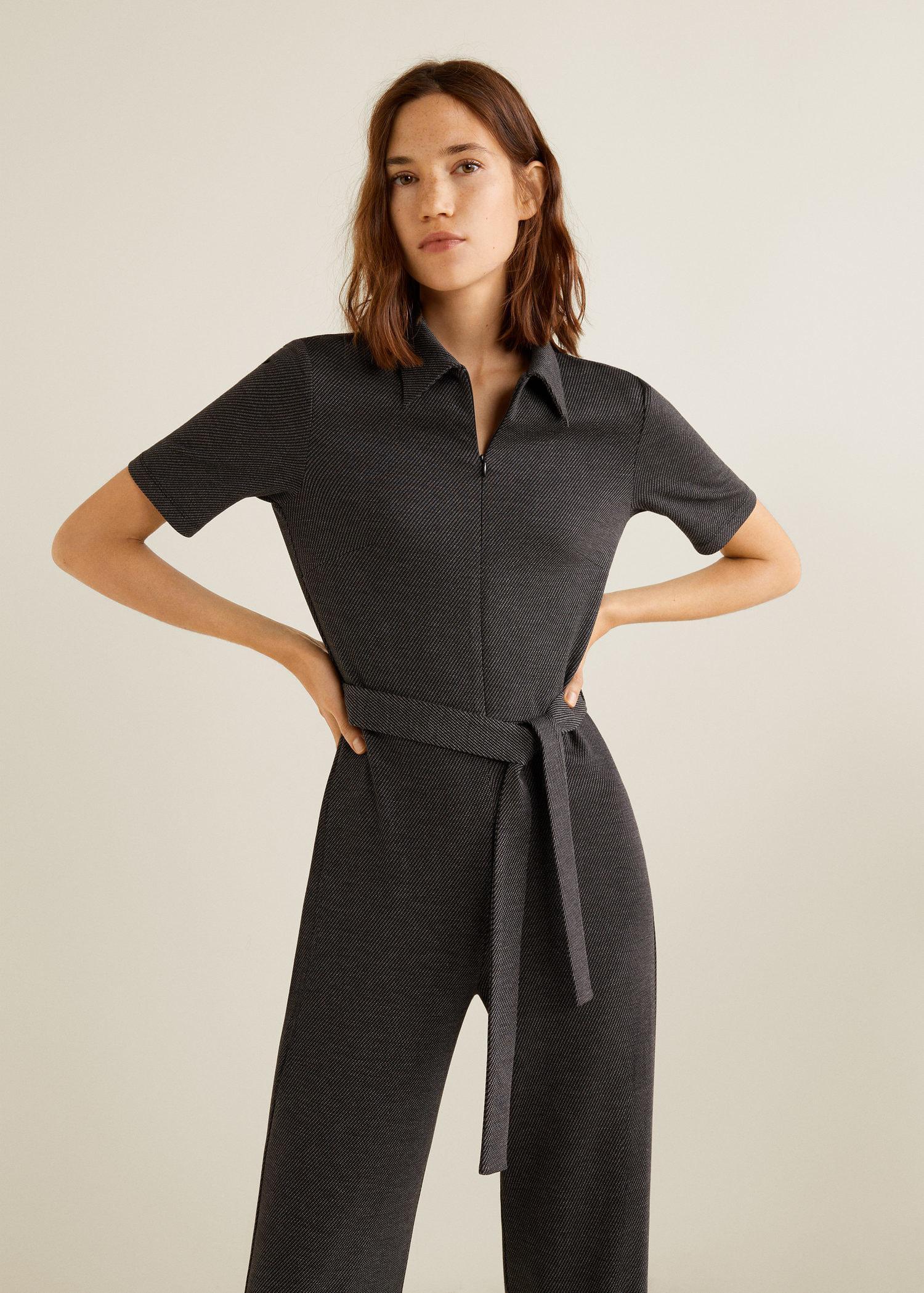 4596416e33 Lyst - Mango Zip Long Jumpsuit in Gray