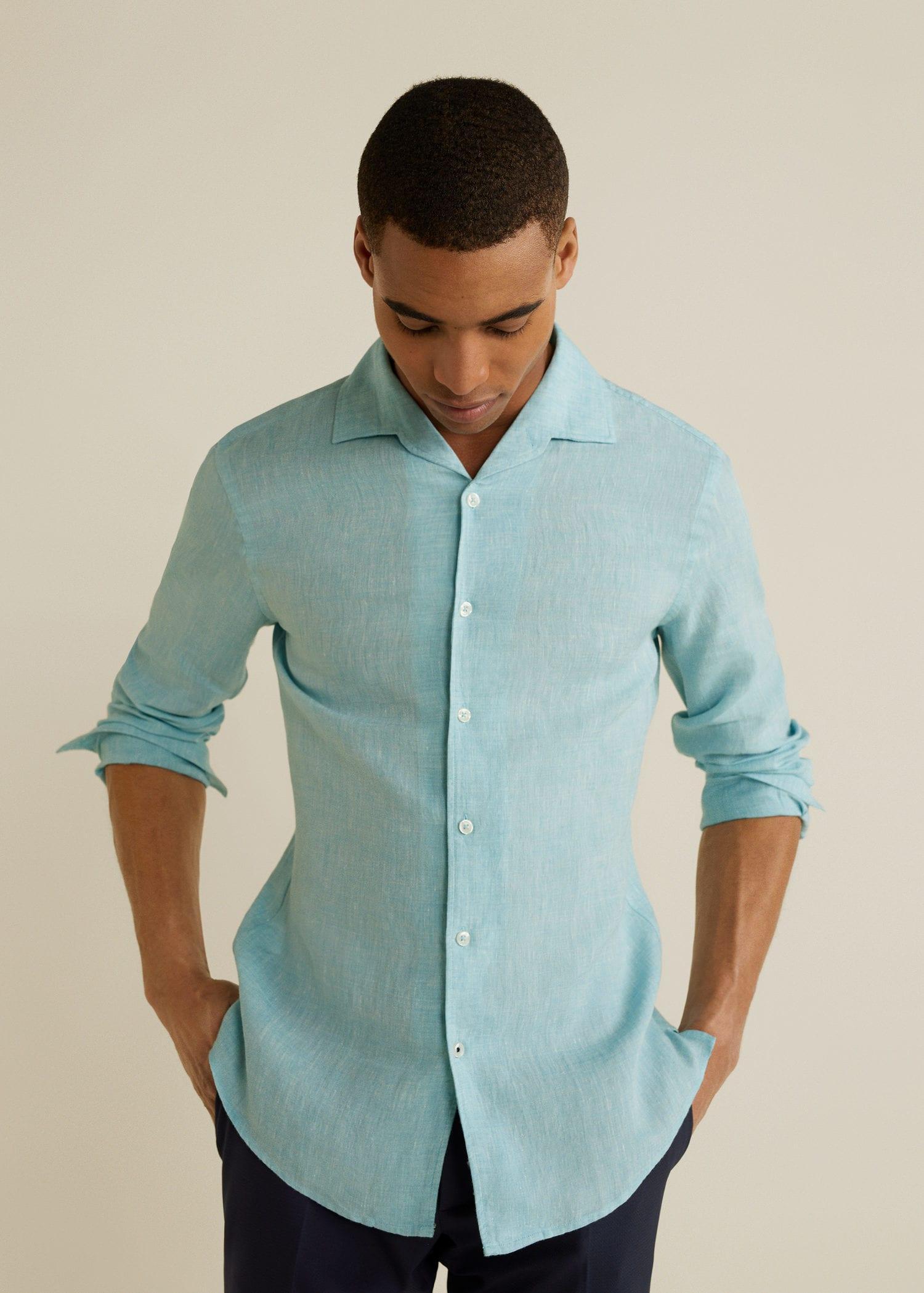 cbedd144d8ff Mango Slim-fit Linen Shirt for Men - Lyst