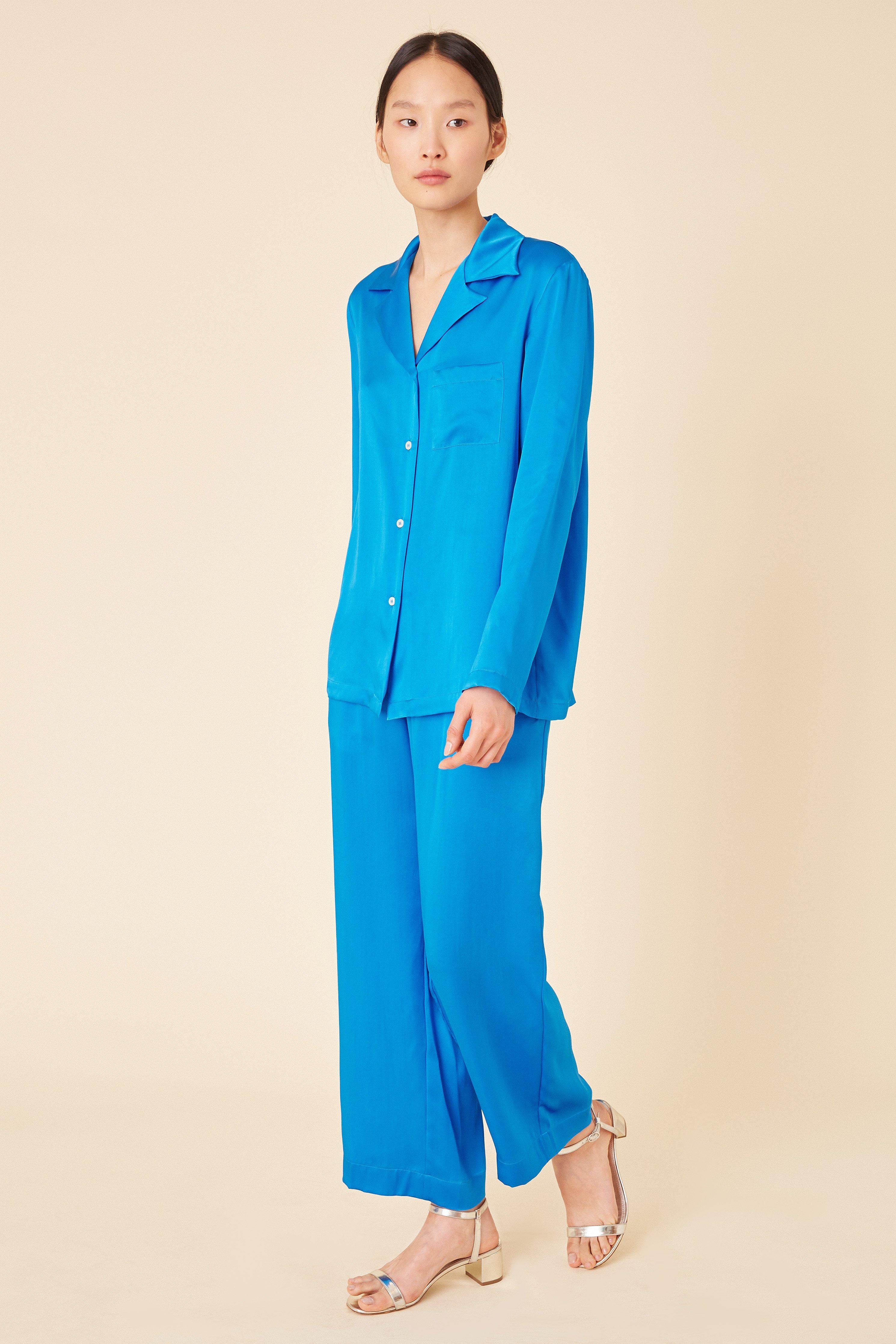 b599304e687d9 Mansur Gavriel - Blue Silk Charmeuse Pajama Shirt - Royal - Lyst. View  fullscreen